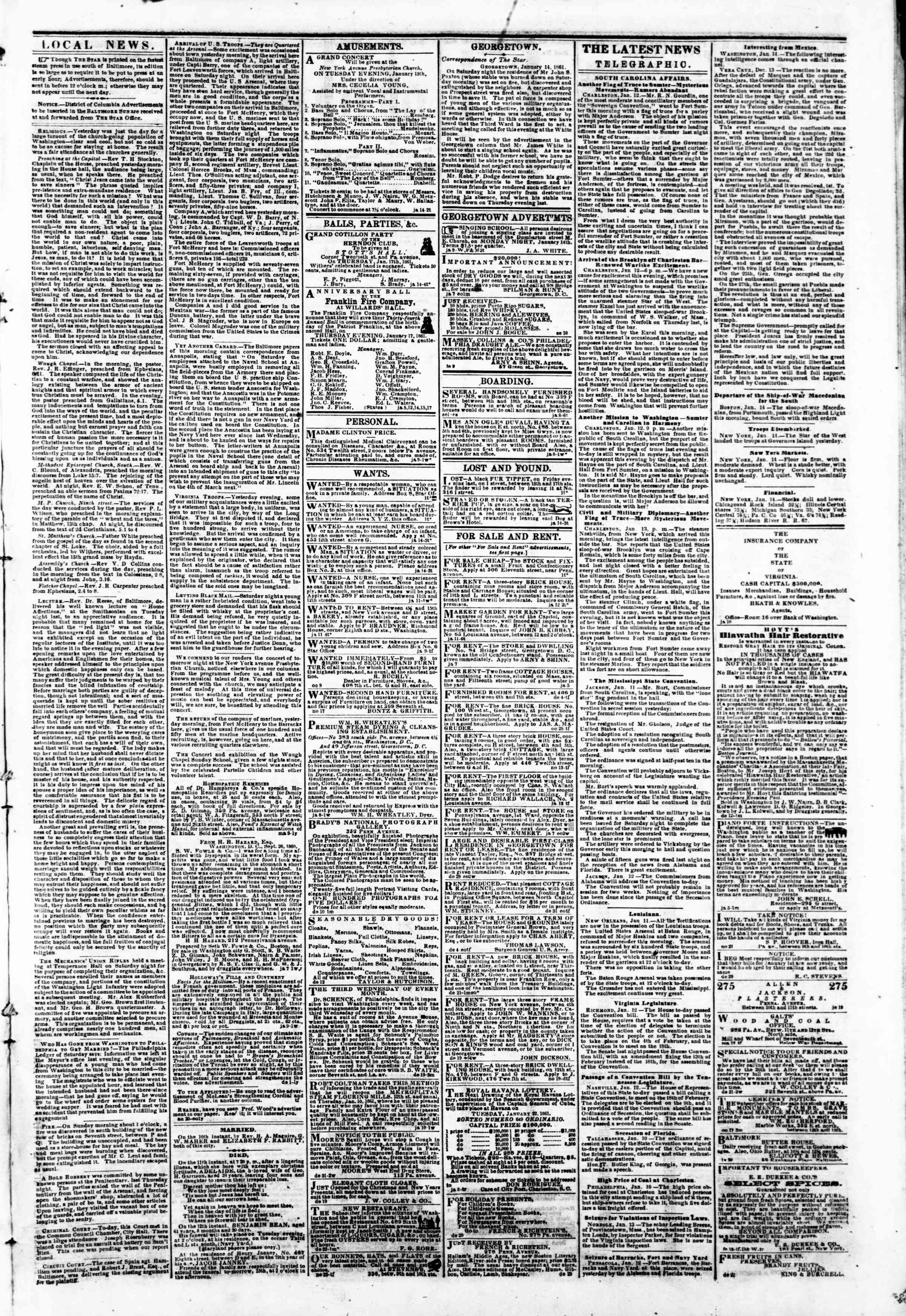 Newspaper of Evening Star dated January 14, 1861 Page 4
