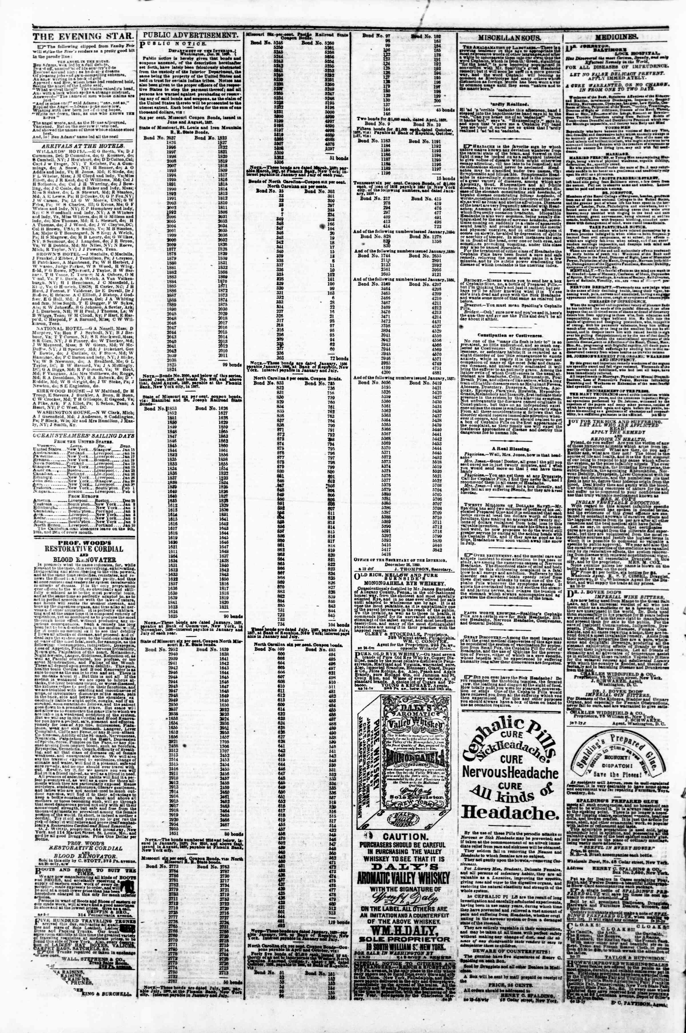 Newspaper of Evening Star dated January 14, 1861 Page 5