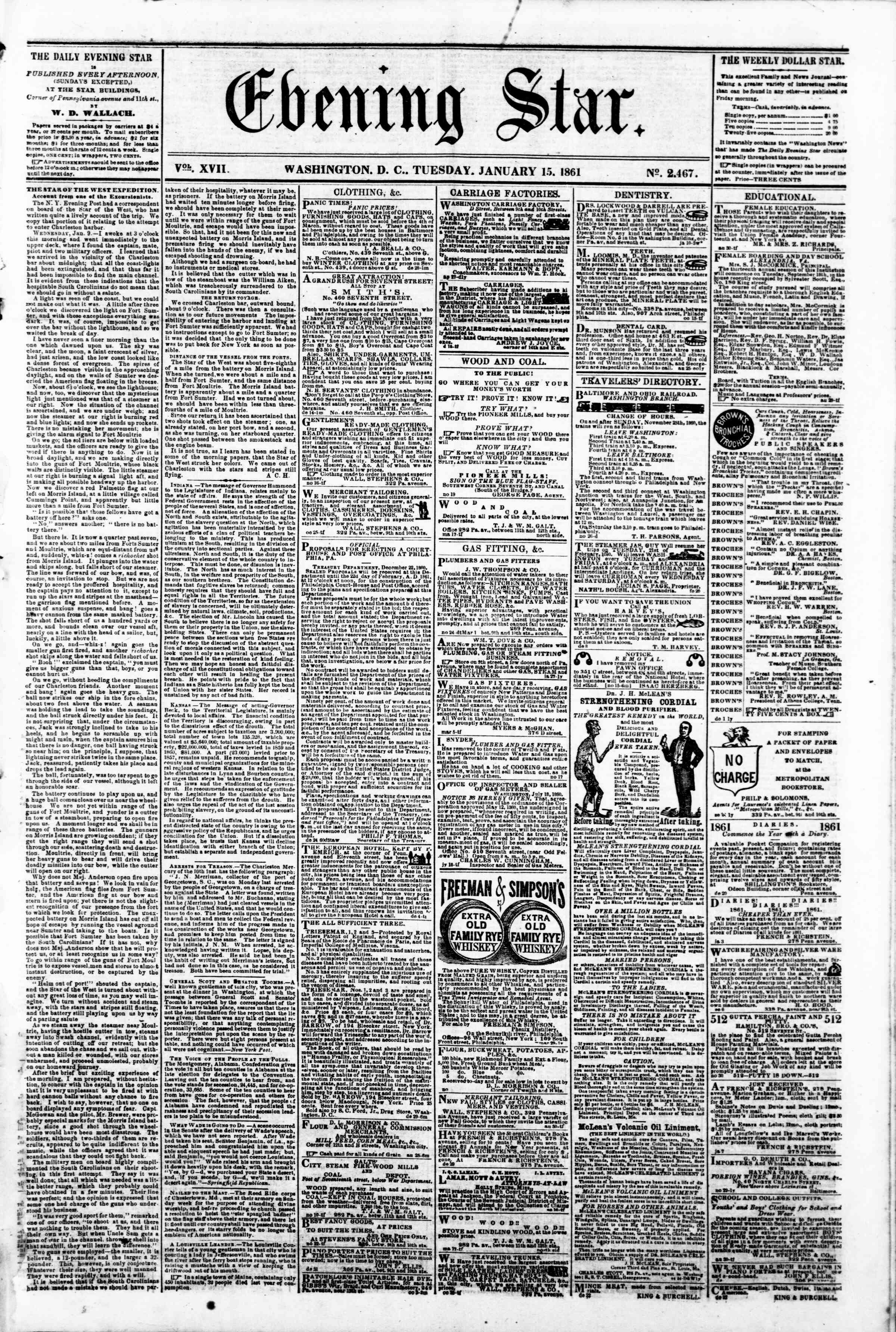 Newspaper of Evening Star dated January 15, 1861 Page 1