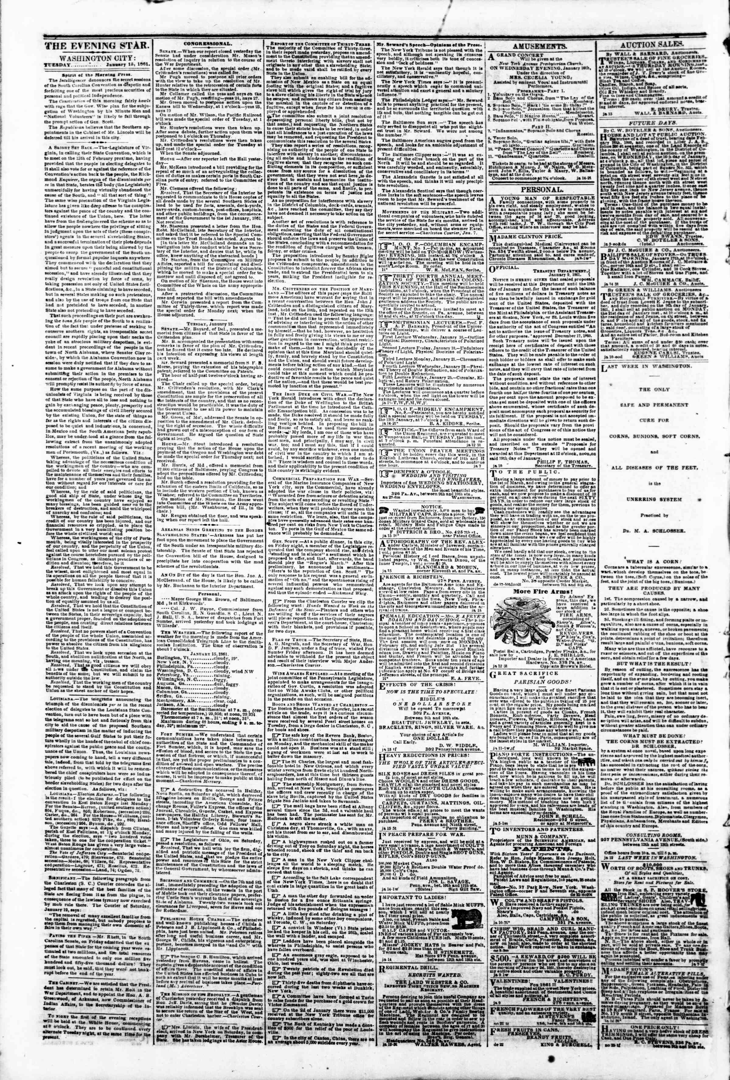 Newspaper of Evening Star dated January 15, 1861 Page 2