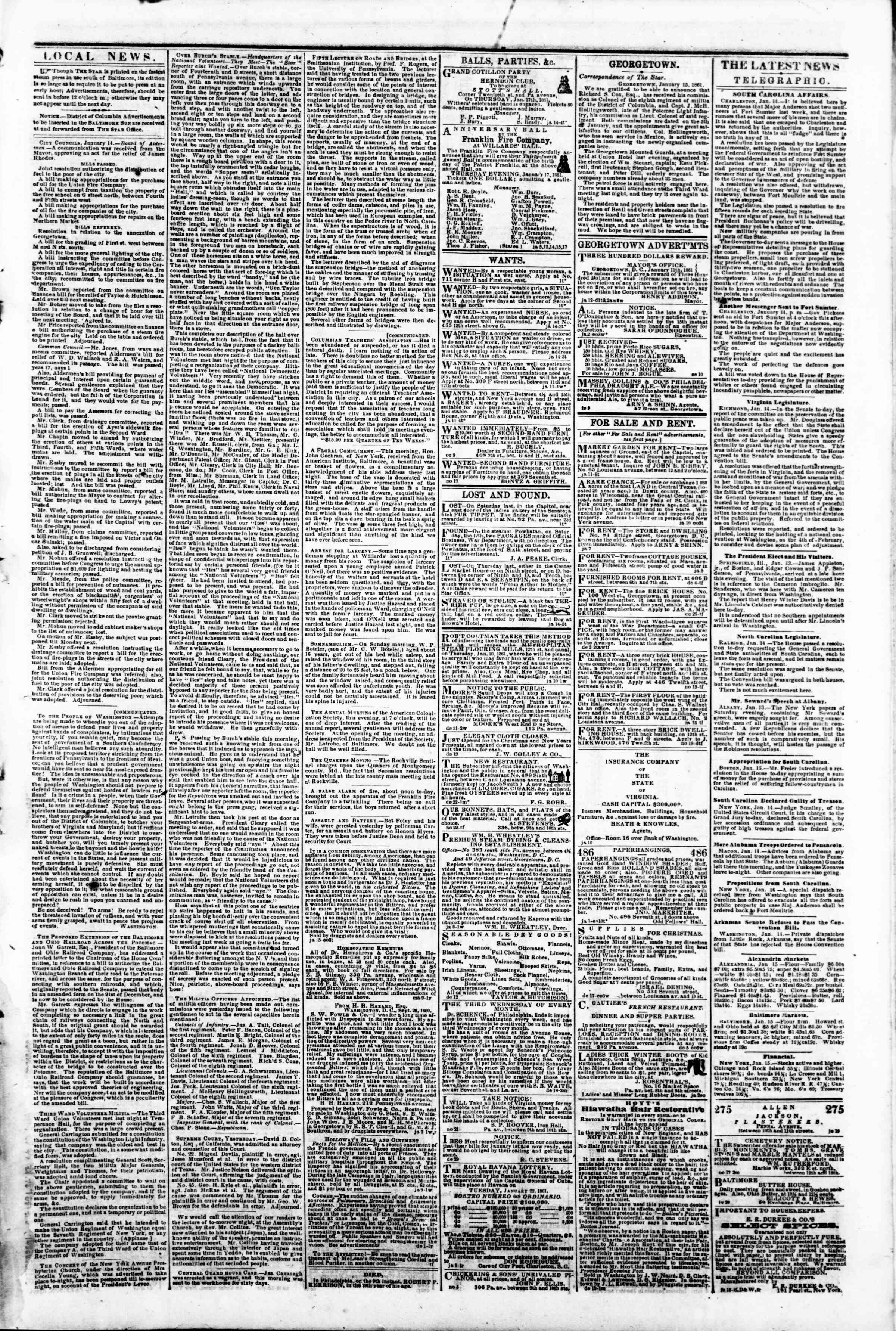 Newspaper of Evening Star dated January 15, 1861 Page 3