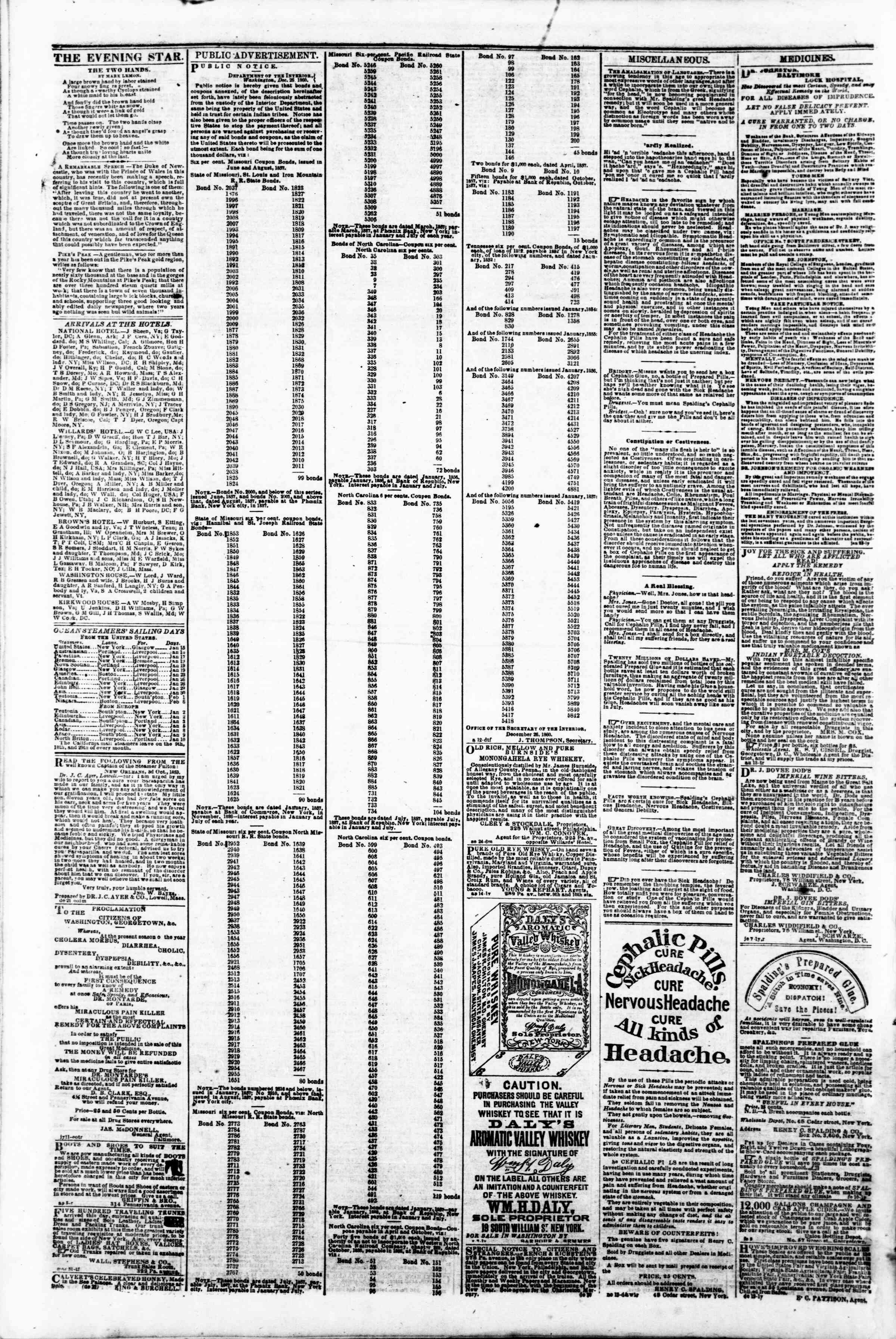 Newspaper of Evening Star dated January 15, 1861 Page 4