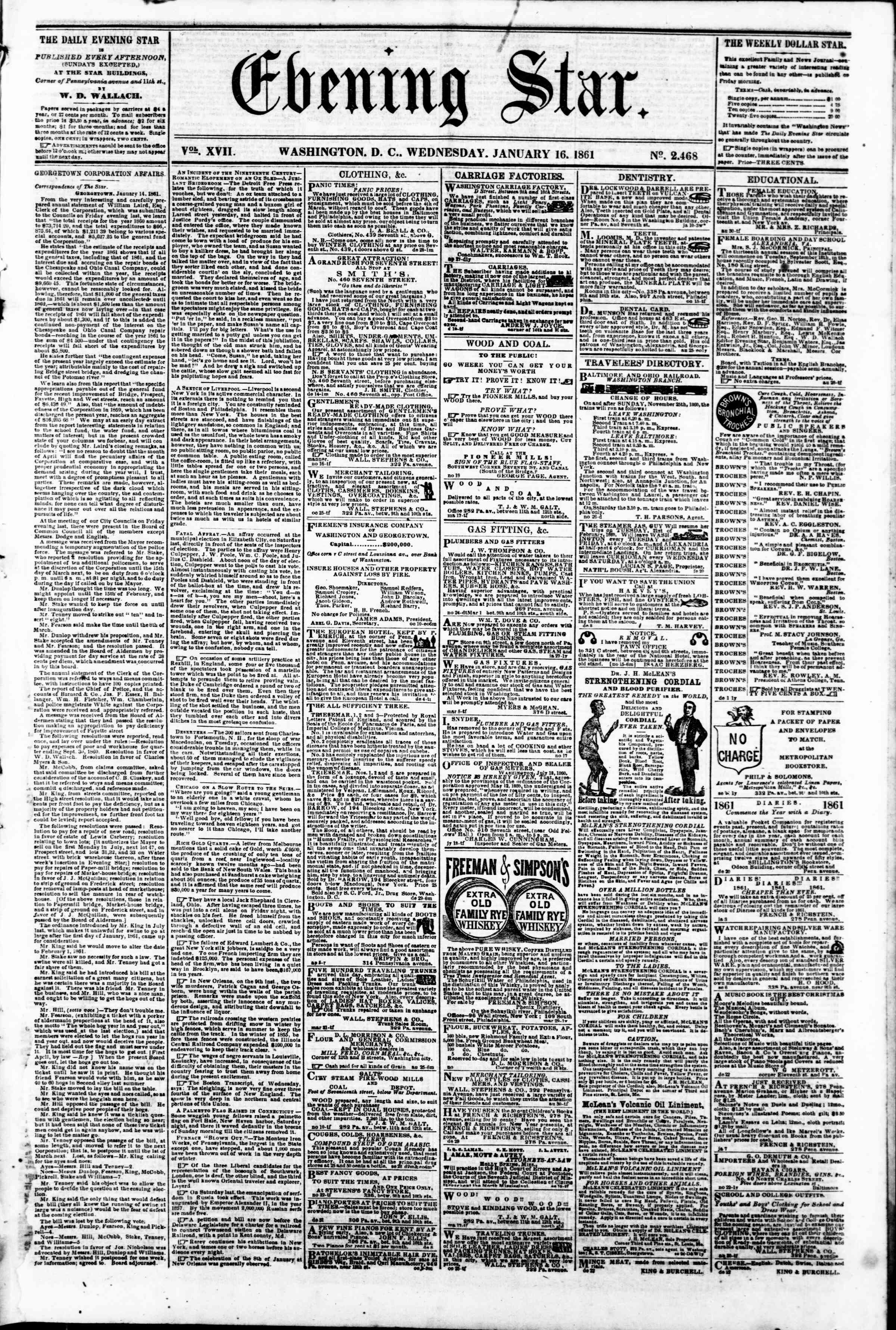 Newspaper of Evening Star dated January 16, 1861 Page 1