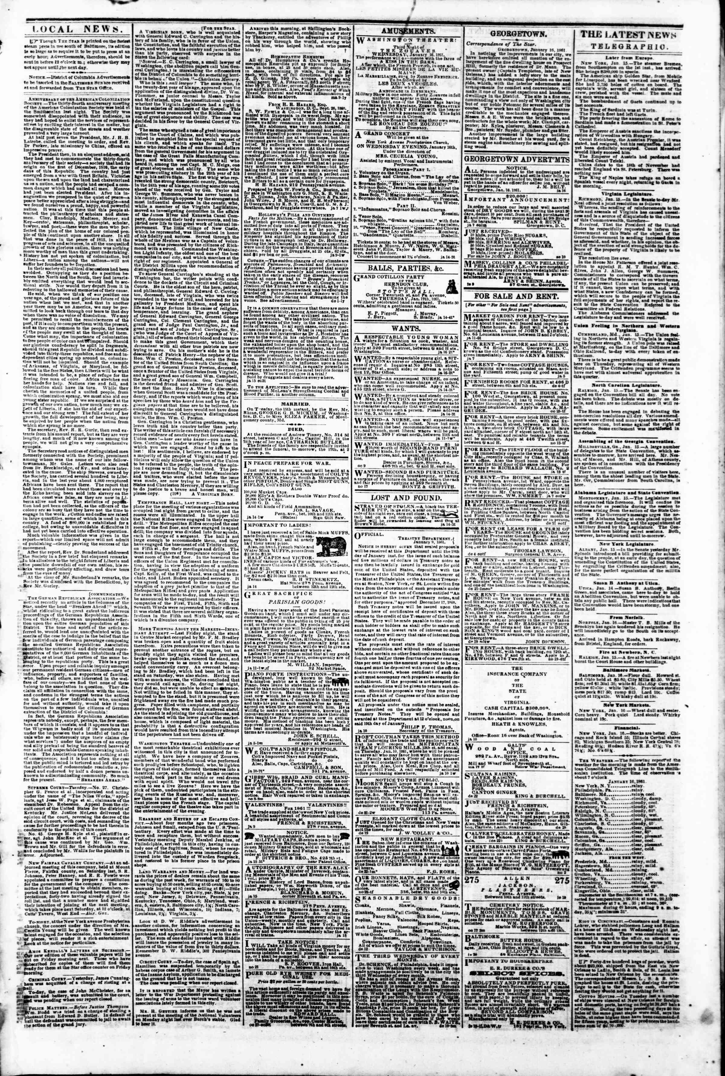 16 Ocak 1861 tarihli Evening Star Gazetesi Sayfa 3