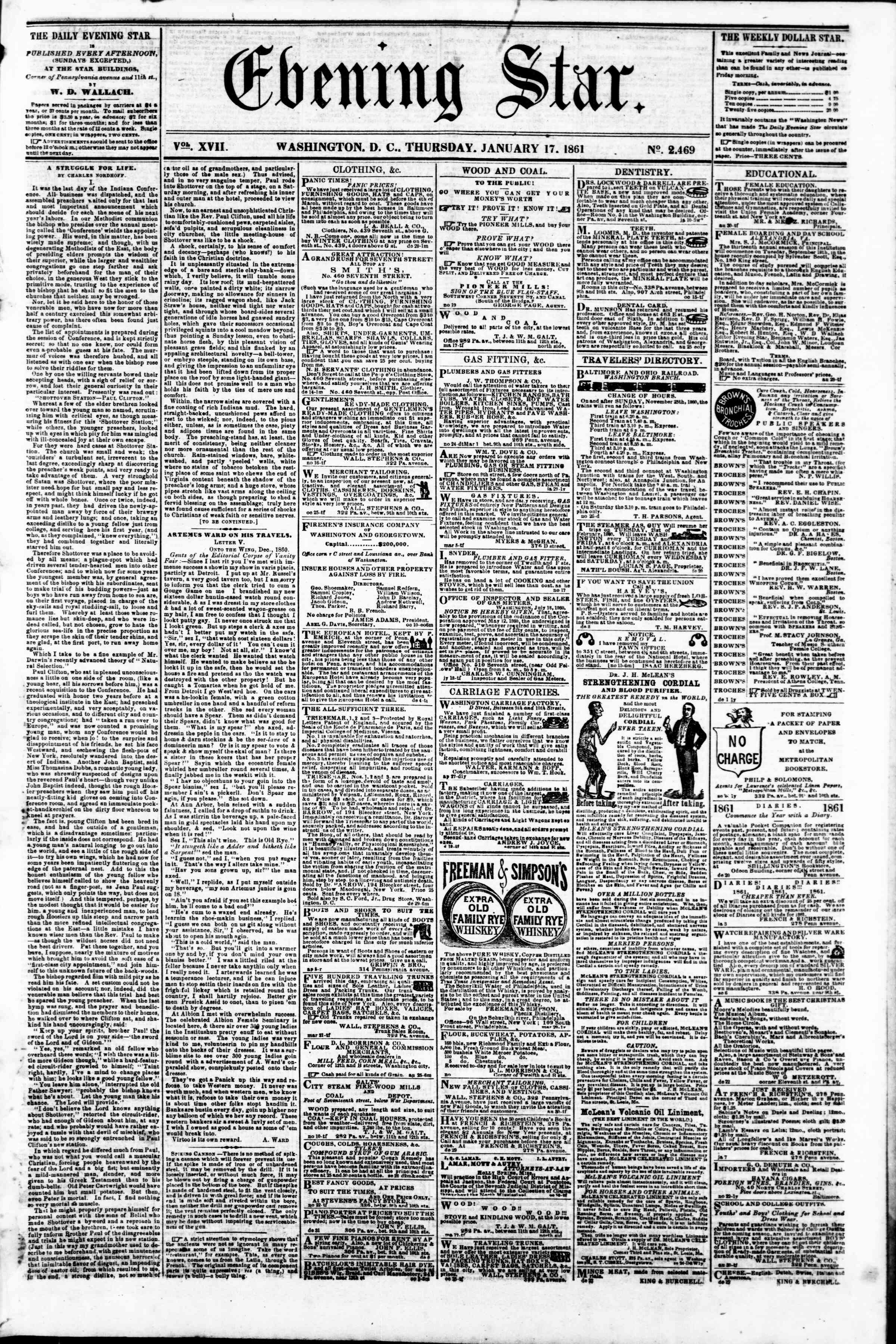 Newspaper of Evening Star dated January 17, 1861 Page 1