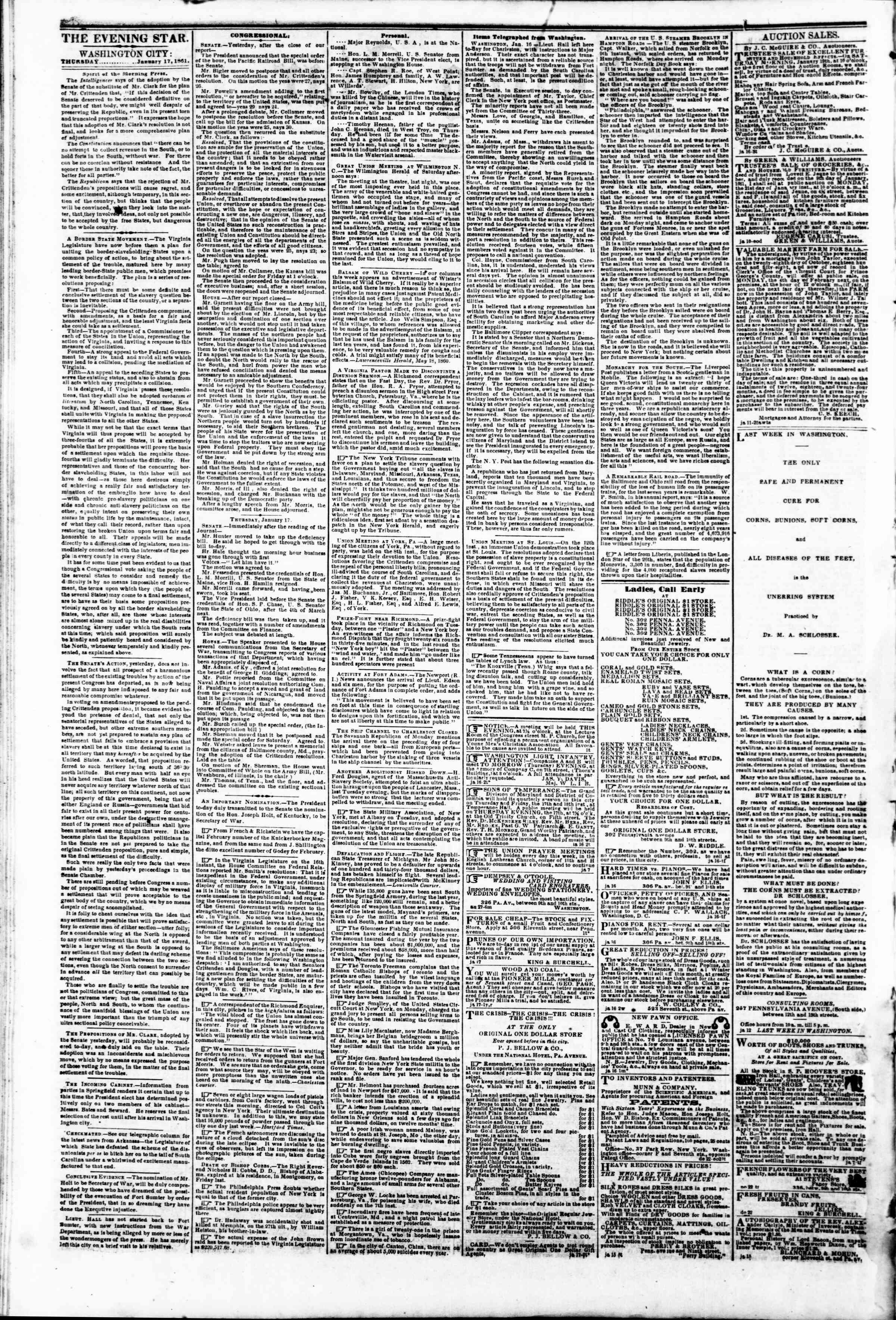 Newspaper of Evening Star dated 17 Ocak 1861 Page 2