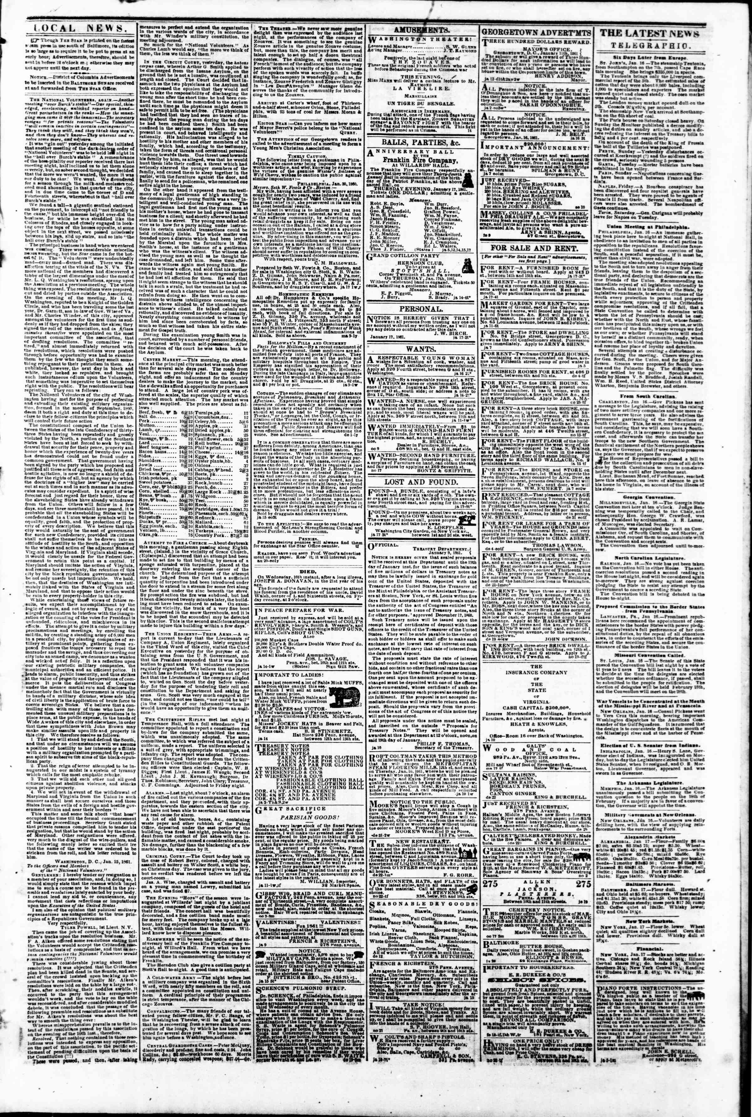 Newspaper of Evening Star dated January 17, 1861 Page 3