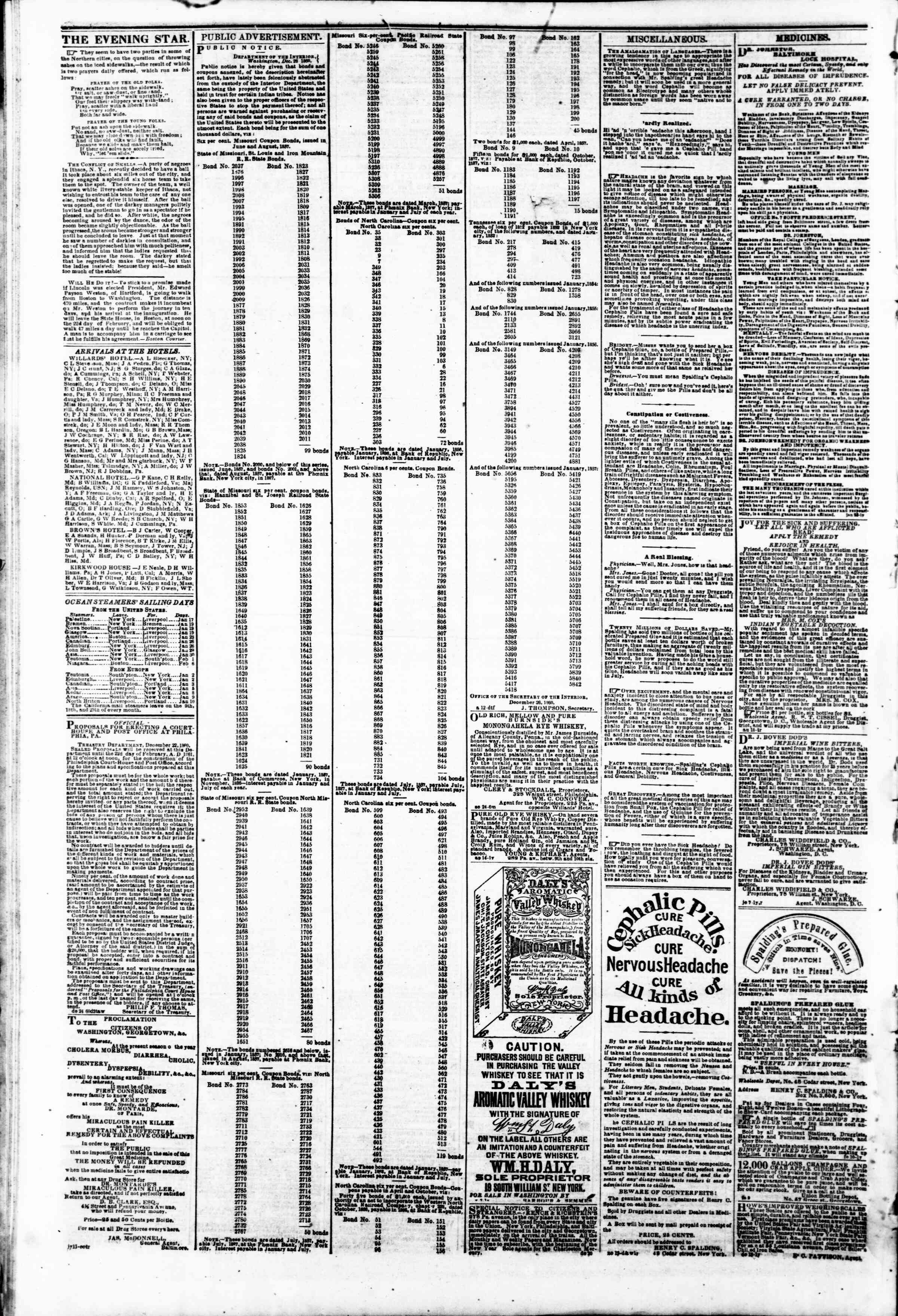 Newspaper of Evening Star dated January 17, 1861 Page 4
