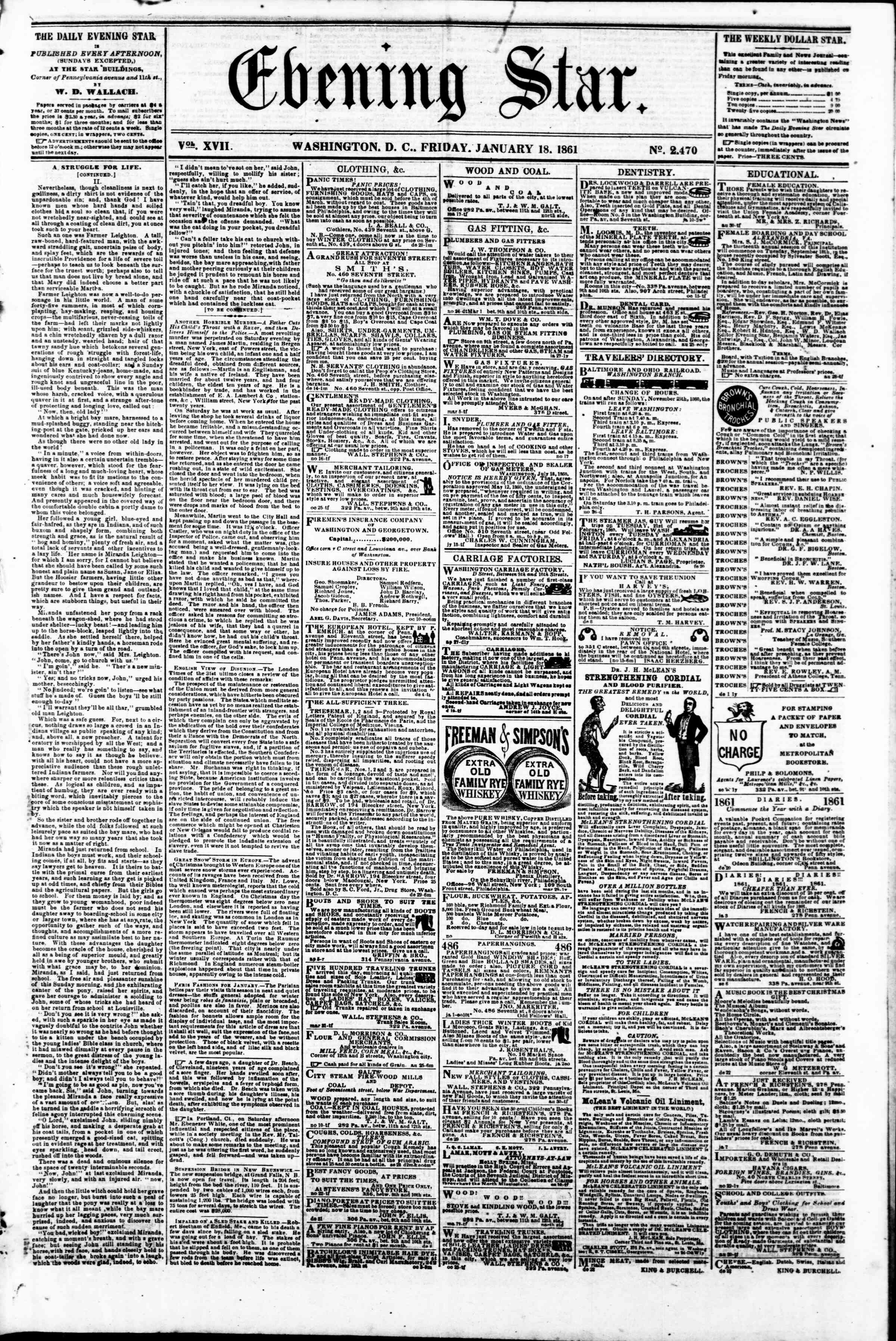 Newspaper of Evening Star dated January 18, 1861 Page 1