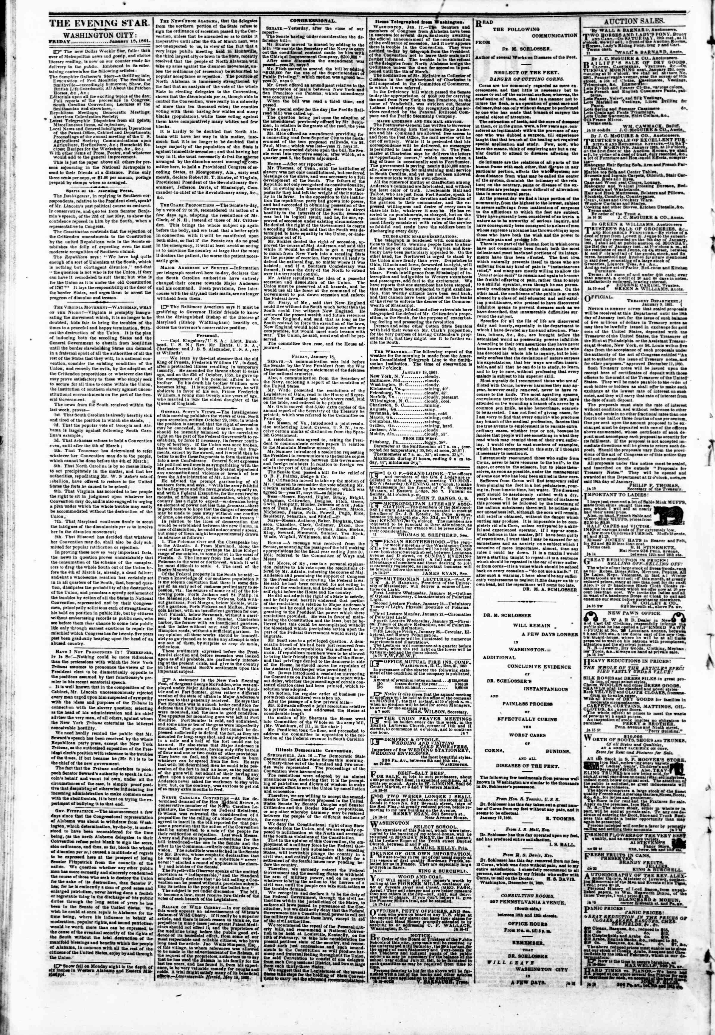 Newspaper of Evening Star dated 18 Ocak 1861 Page 2