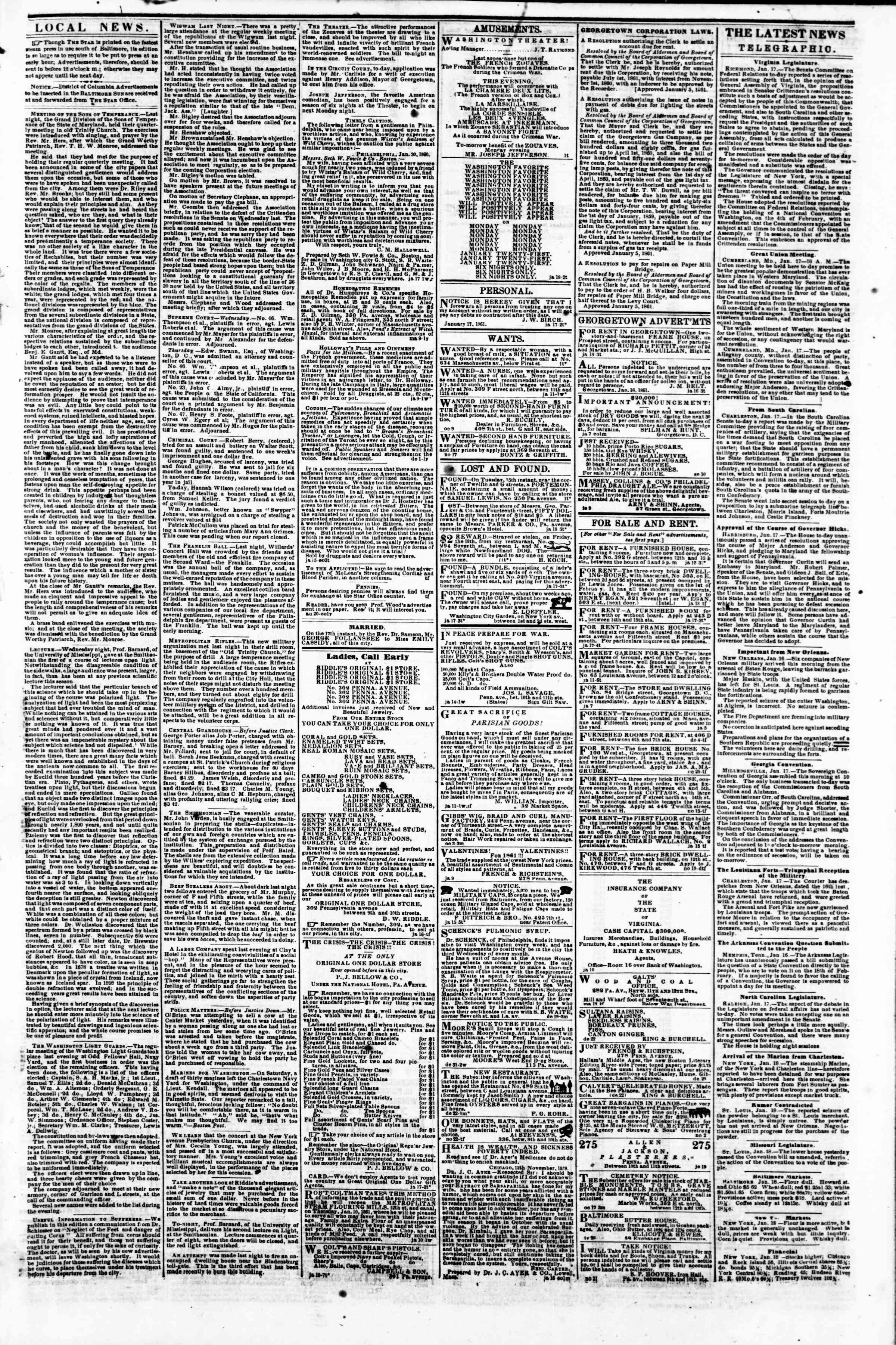 Newspaper of Evening Star dated January 18, 1861 Page 3