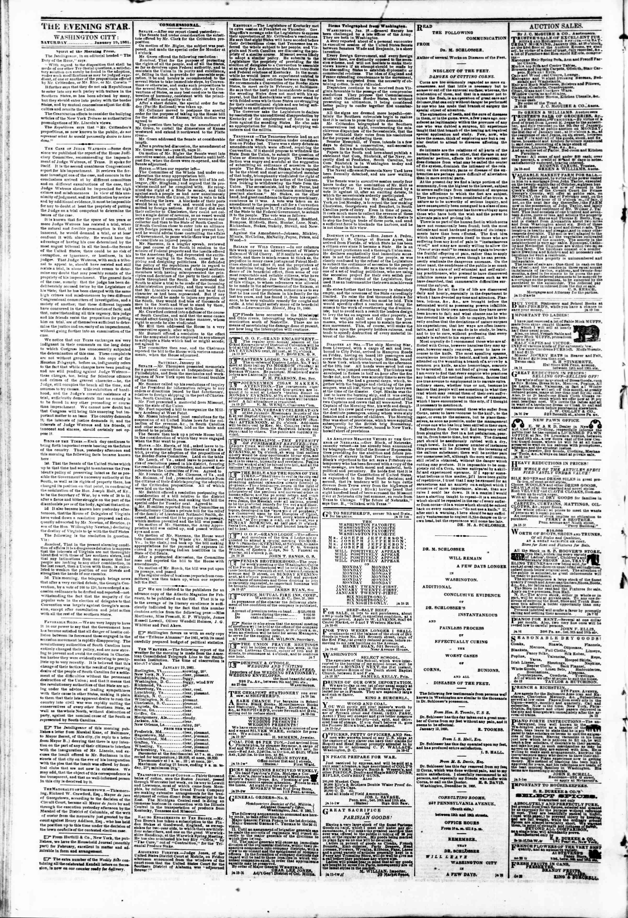 Newspaper of Evening Star dated January 19, 1861 Page 2