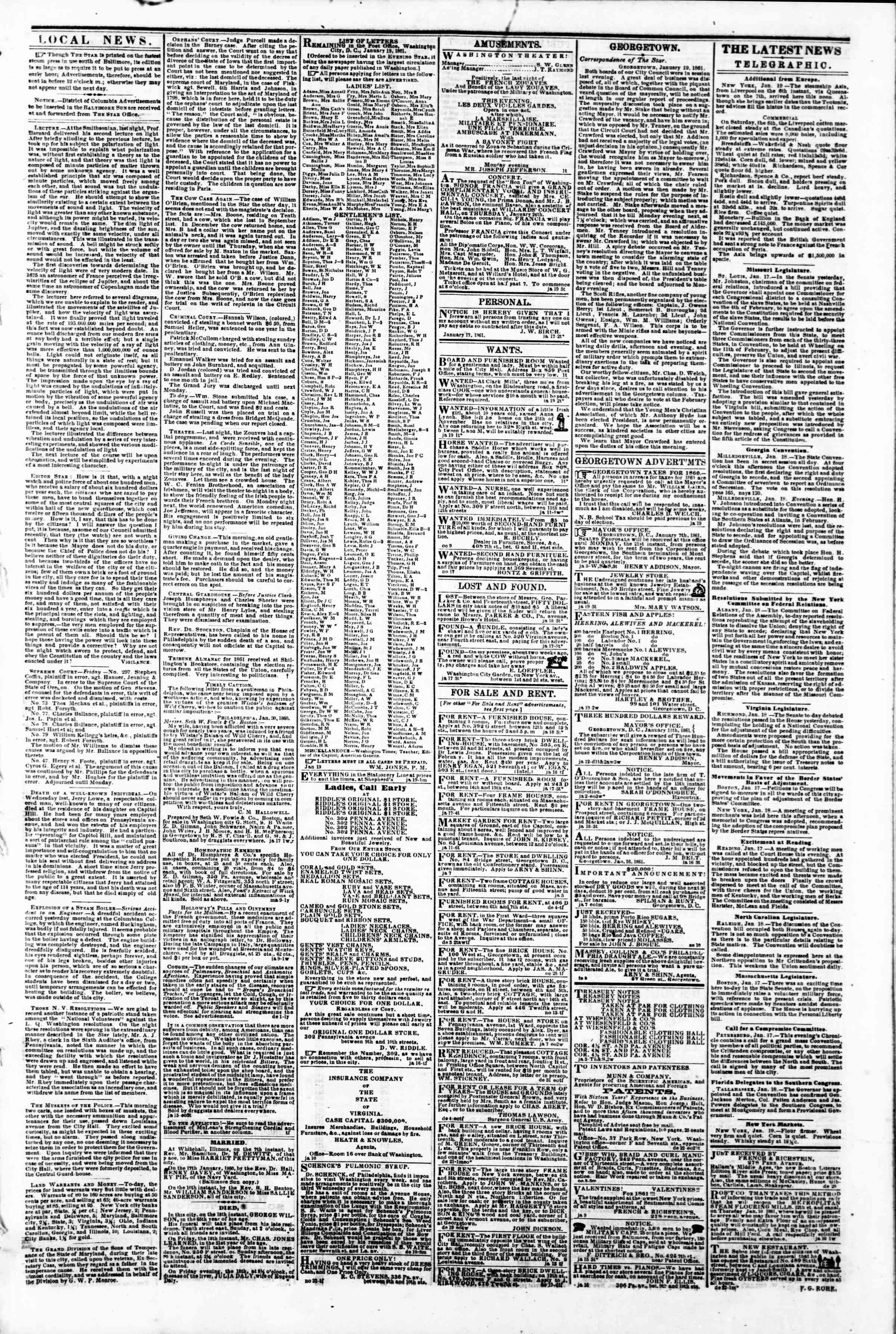 Newspaper of Evening Star dated January 19, 1861 Page 3