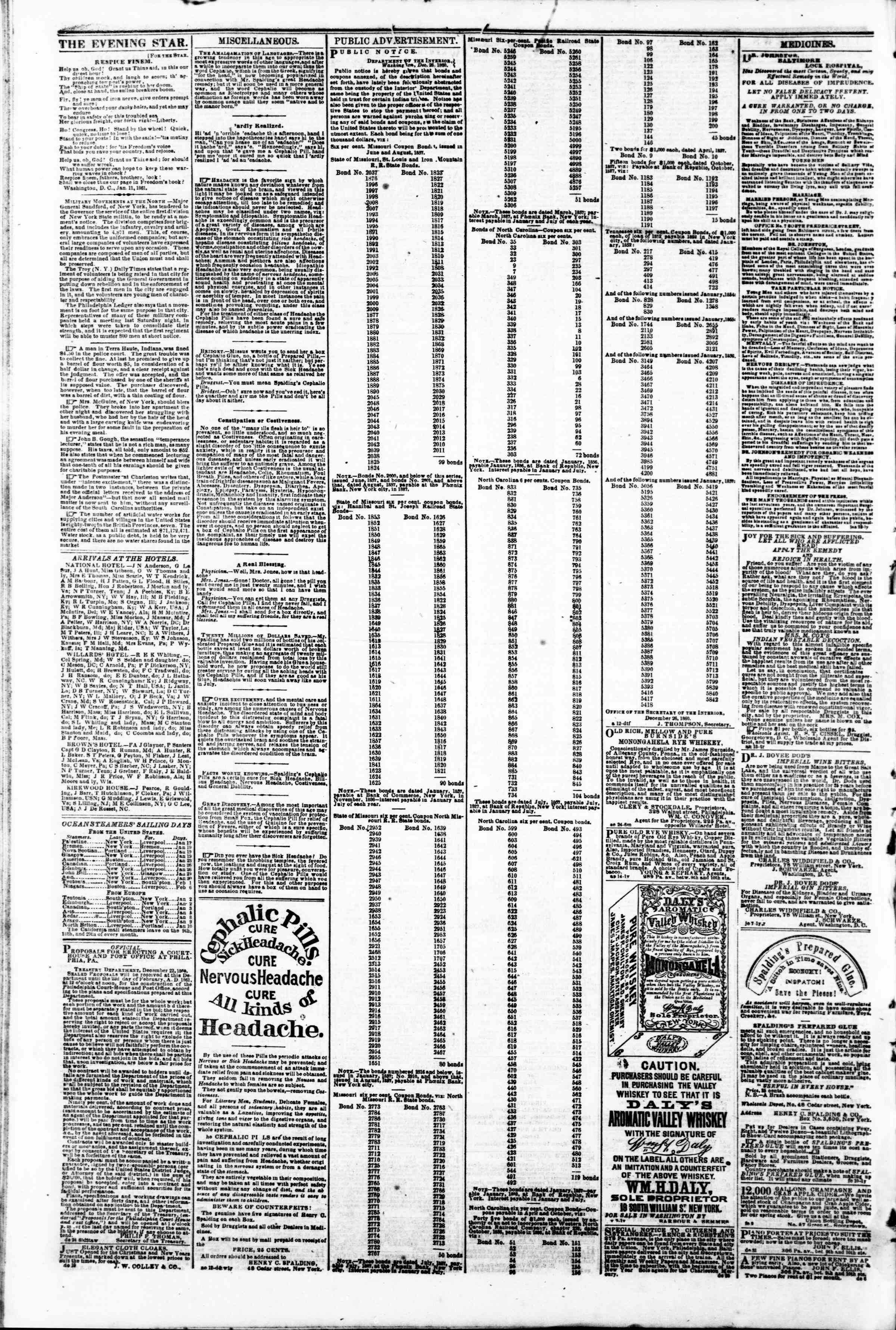 Newspaper of Evening Star dated January 19, 1861 Page 4