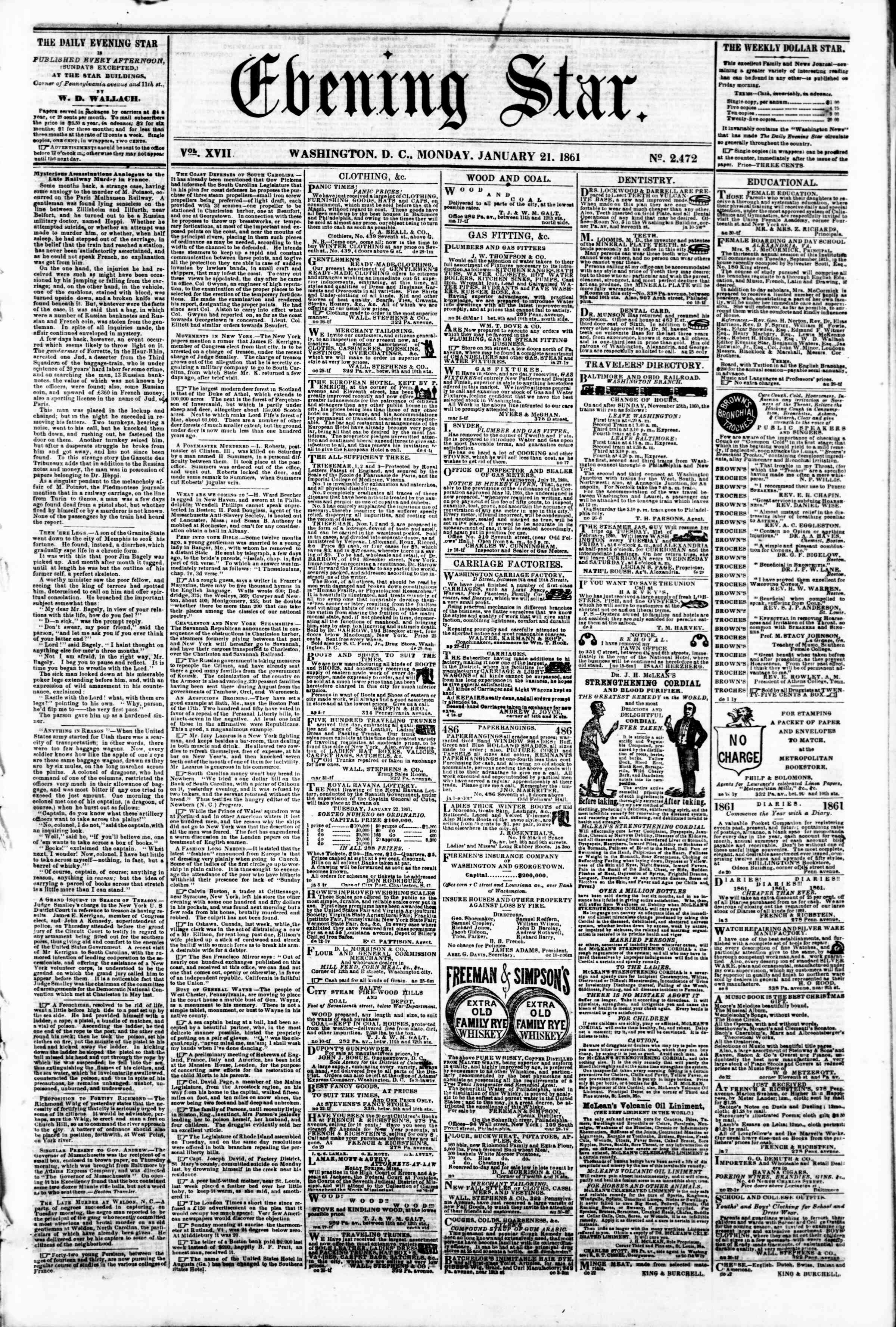 Newspaper of Evening Star dated January 21, 1861 Page 1