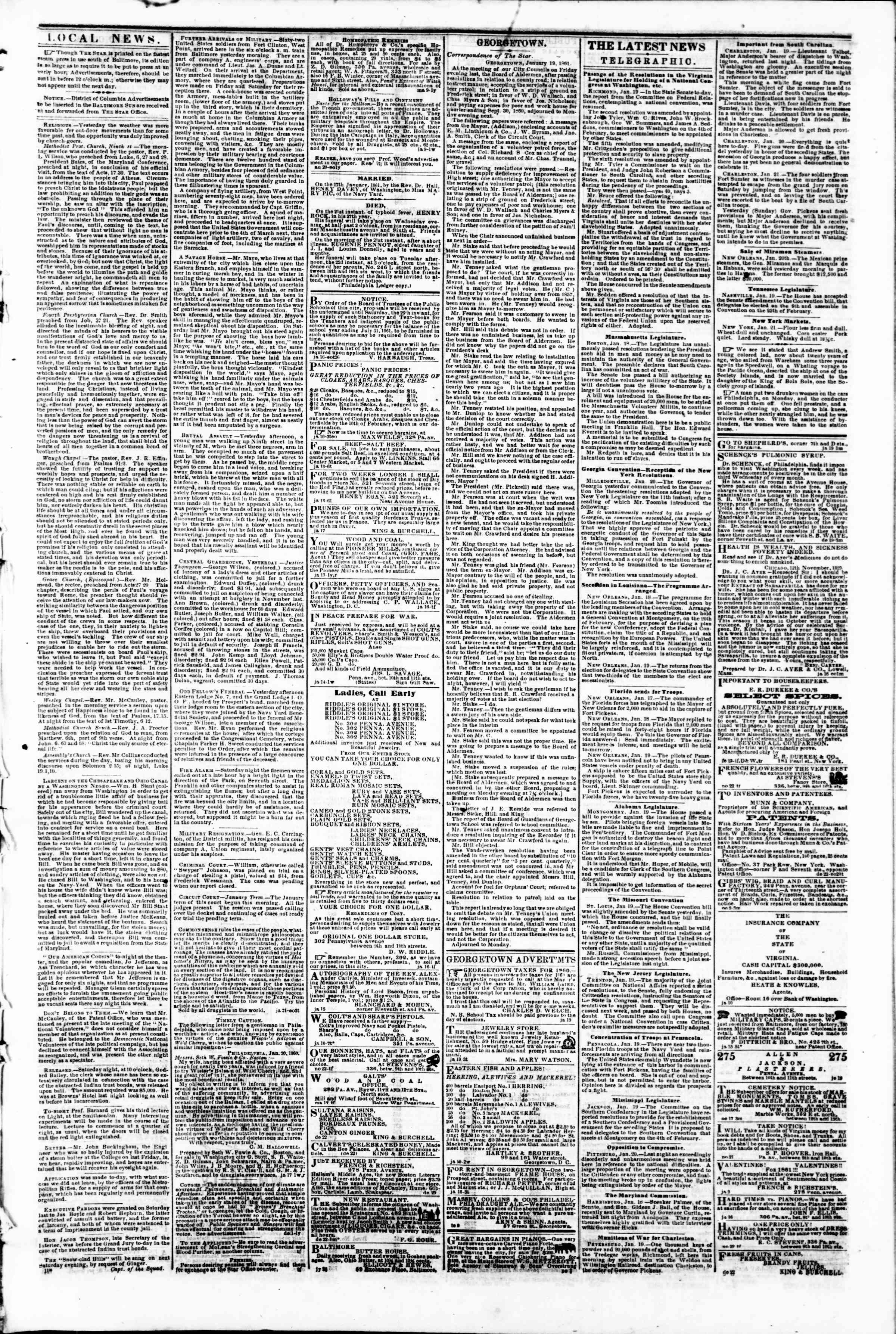 Newspaper of Evening Star dated January 21, 1861 Page 3