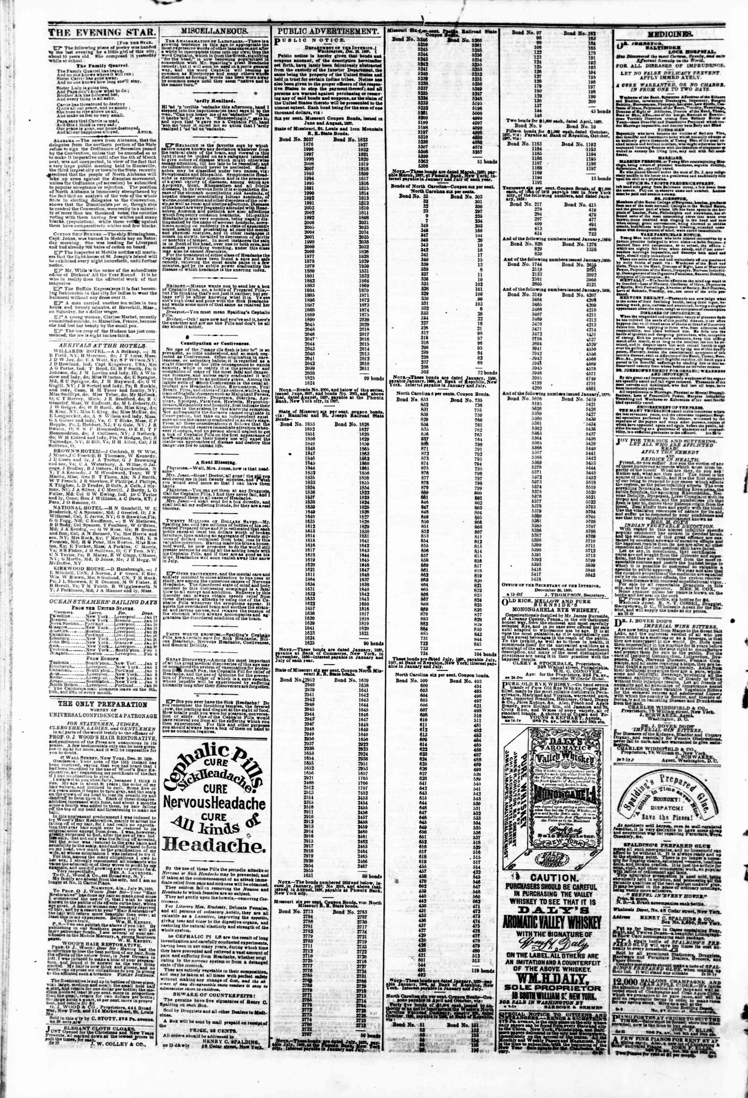 Newspaper of Evening Star dated January 21, 1861 Page 4