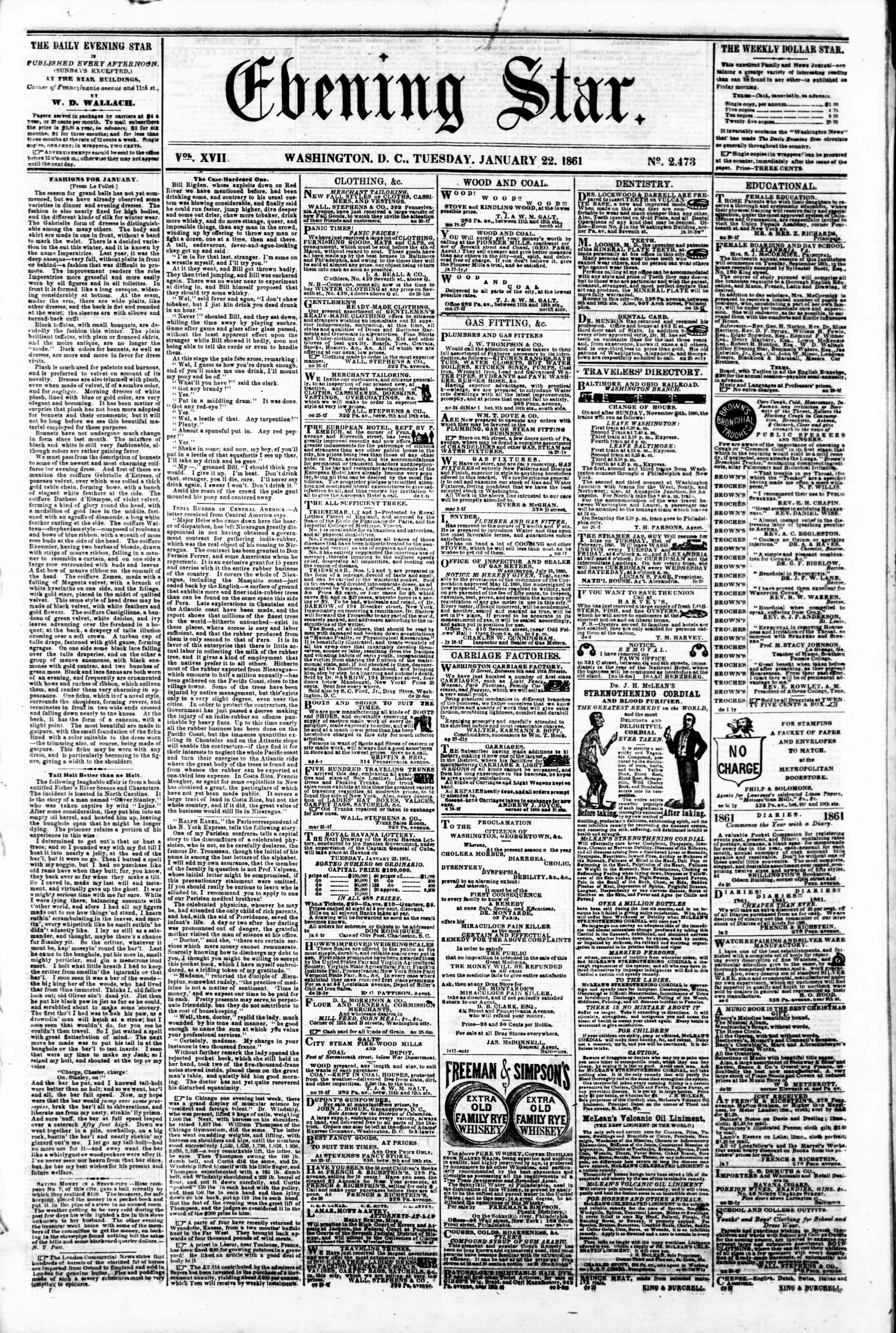 Newspaper of Evening Star dated January 22, 1861 Page 1