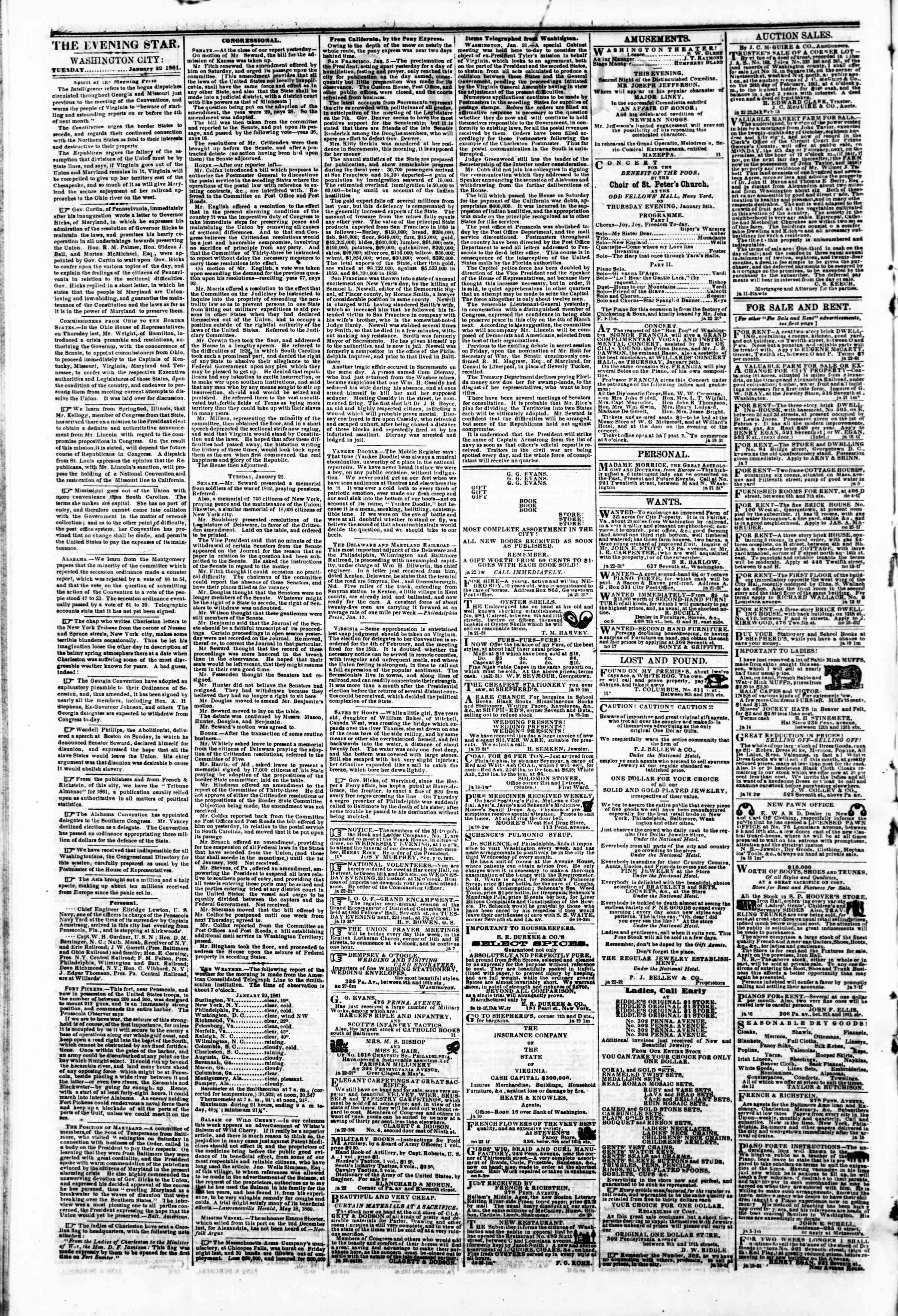 Newspaper of Evening Star dated January 22, 1861 Page 2