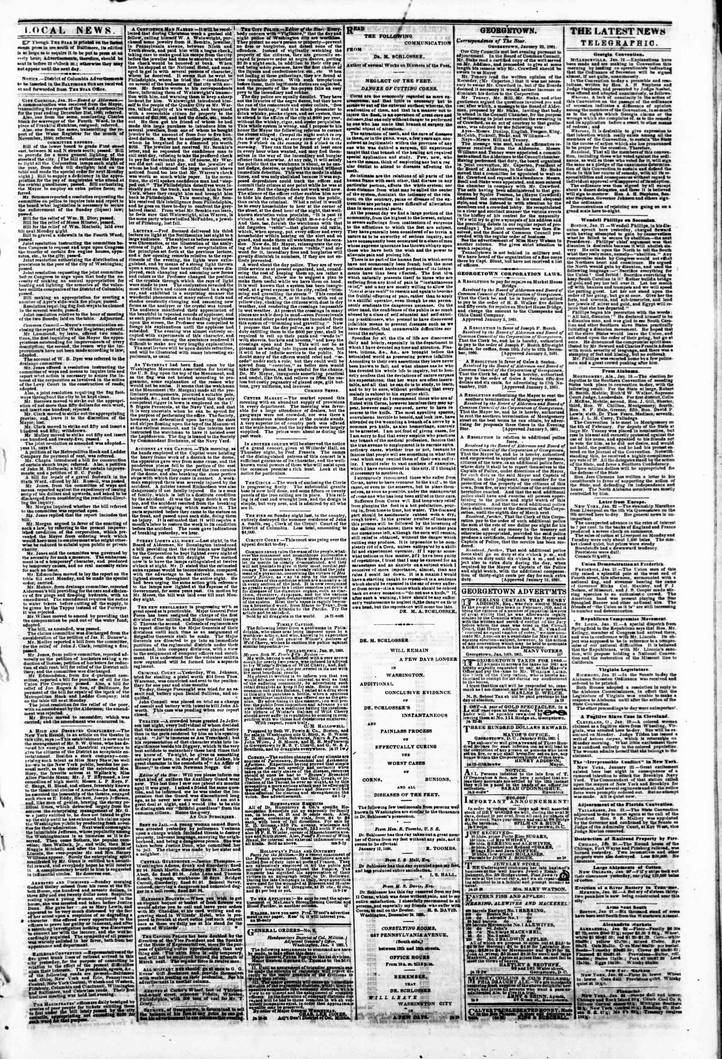 Newspaper of Evening Star dated January 22, 1861 Page 3