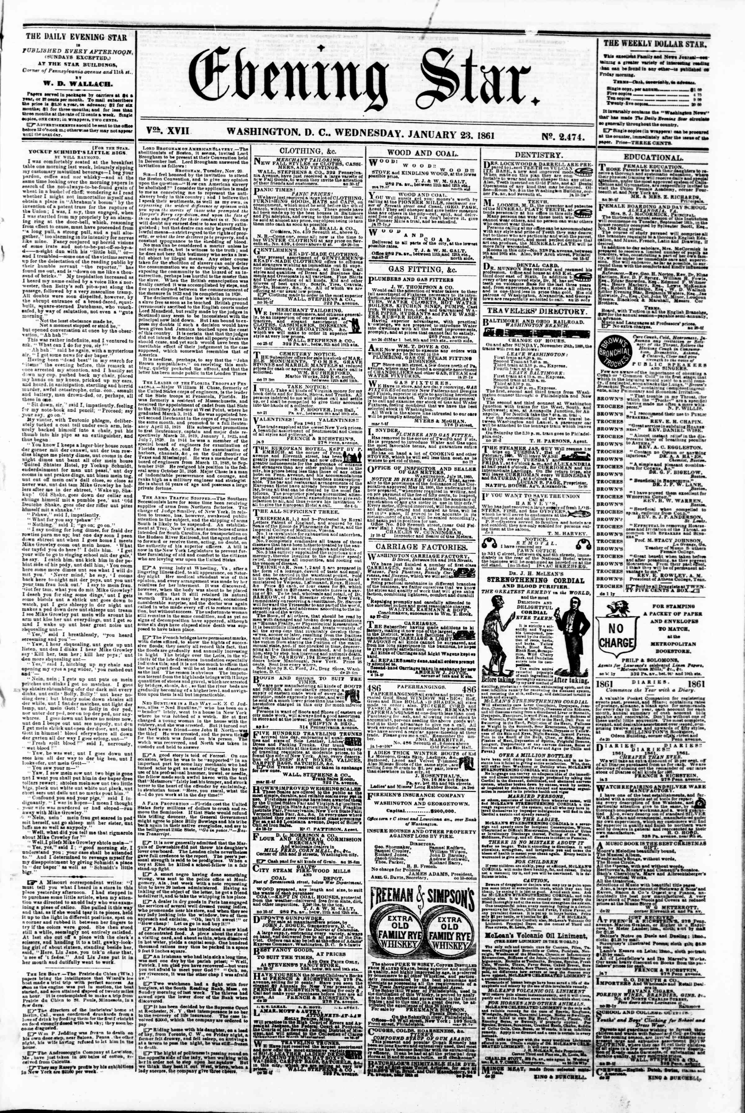 Newspaper of Evening Star dated January 23, 1861 Page 1