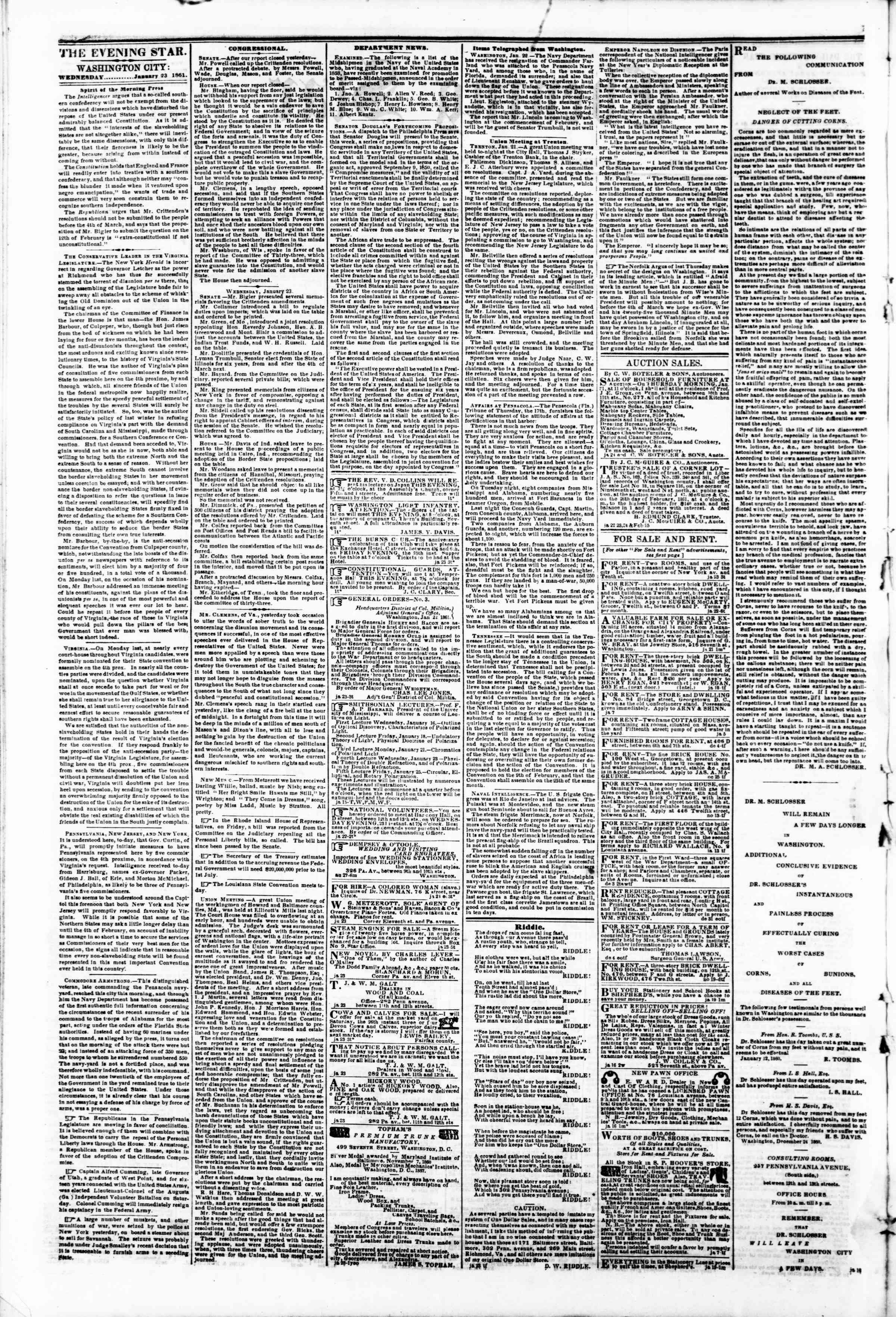 Newspaper of Evening Star dated January 23, 1861 Page 2