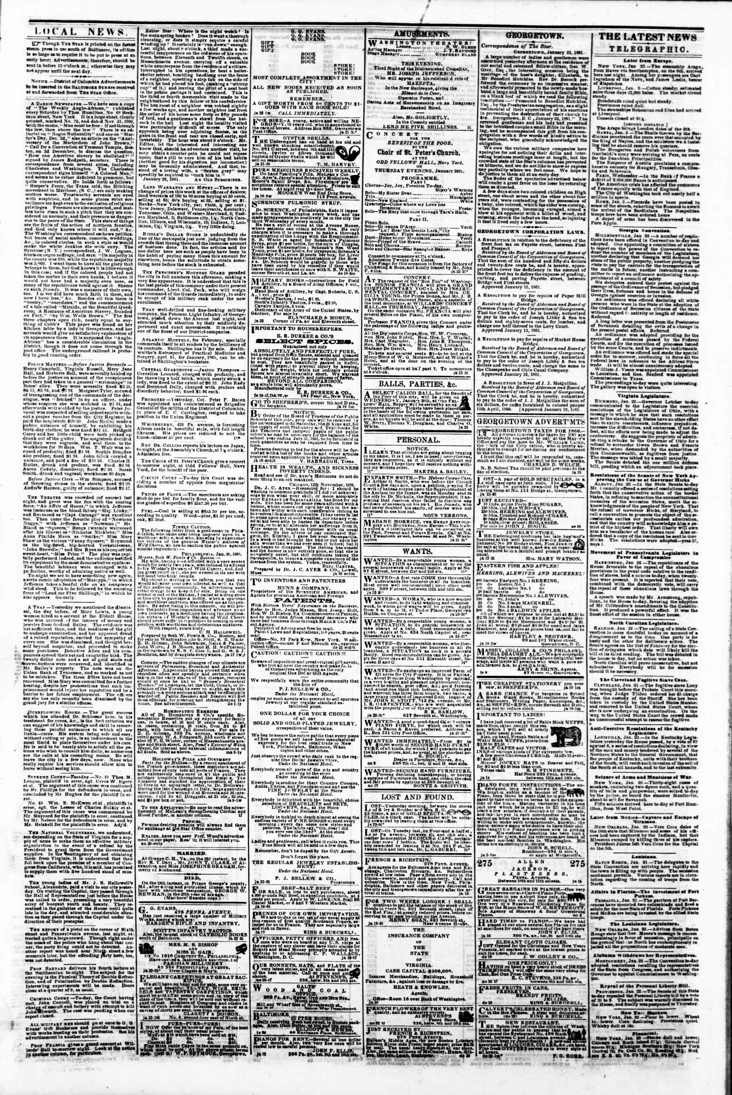 Newspaper of Evening Star dated January 23, 1861 Page 3
