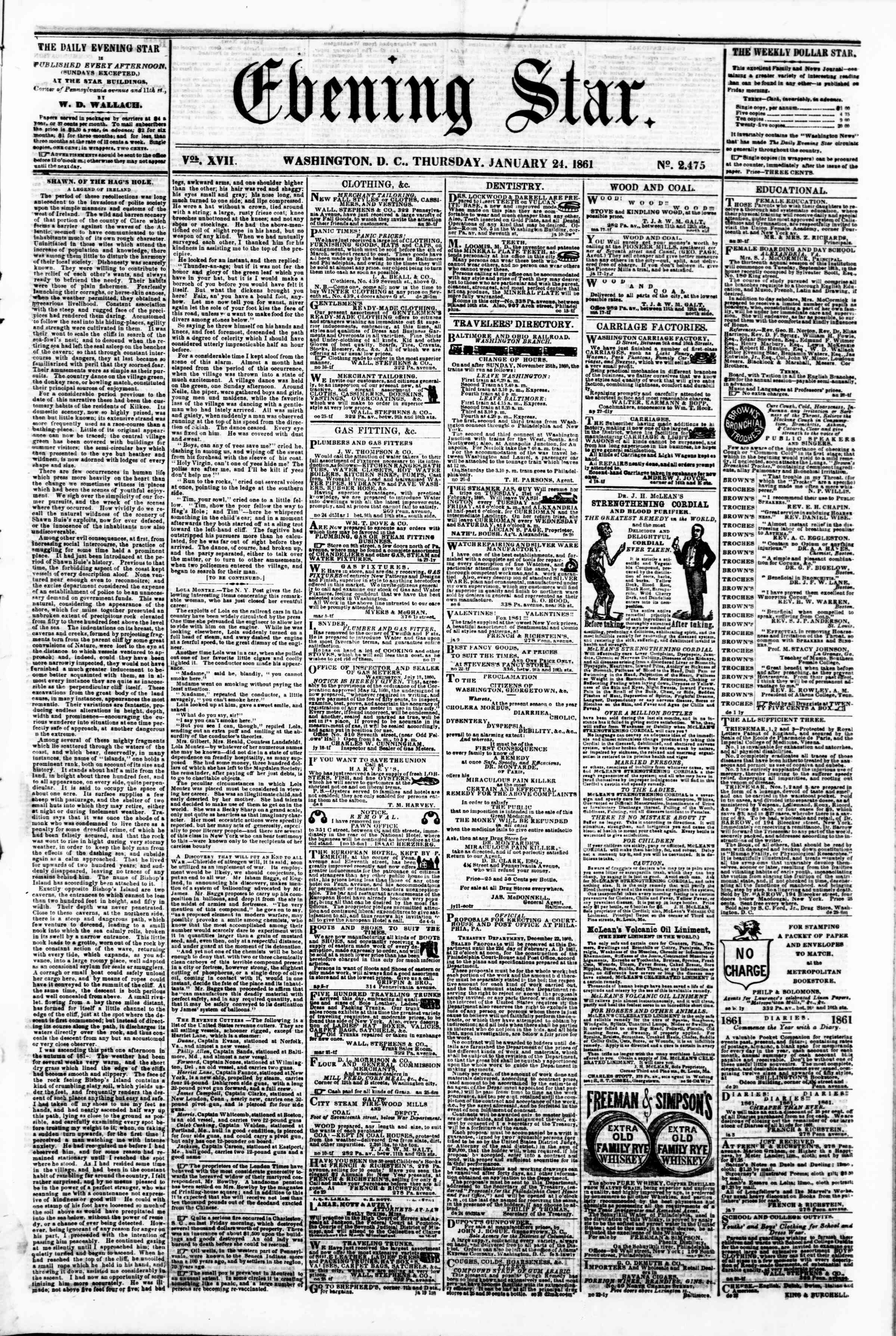 Newspaper of Evening Star dated January 24, 1861 Page 1