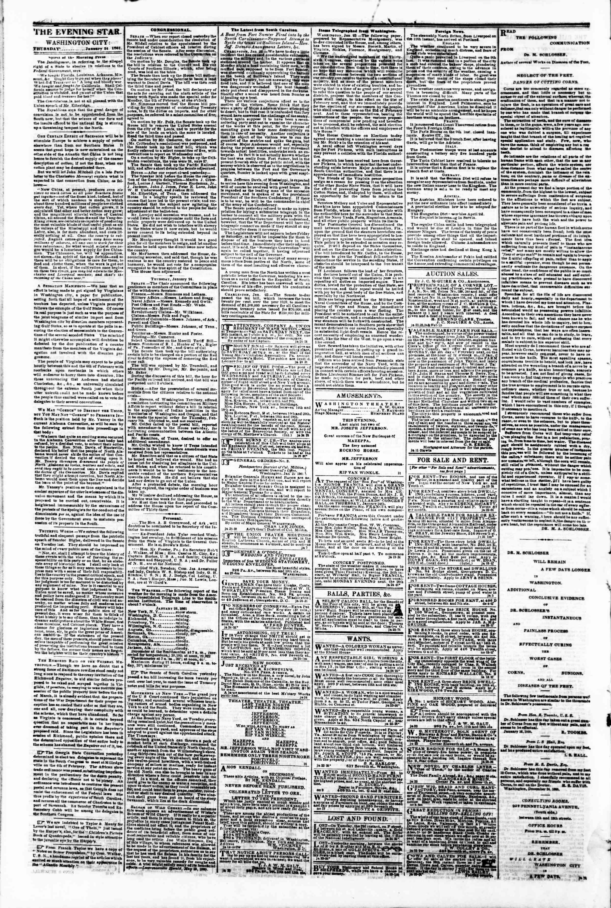 Newspaper of Evening Star dated January 24, 1861 Page 2