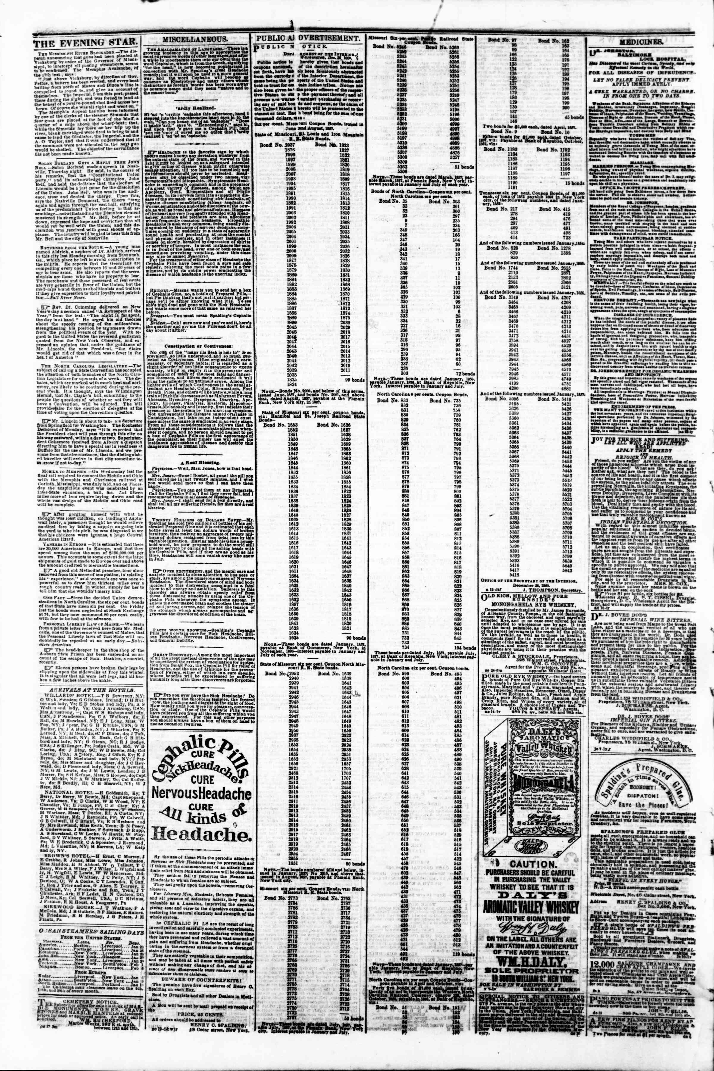 Newspaper of Evening Star dated January 24, 1861 Page 4