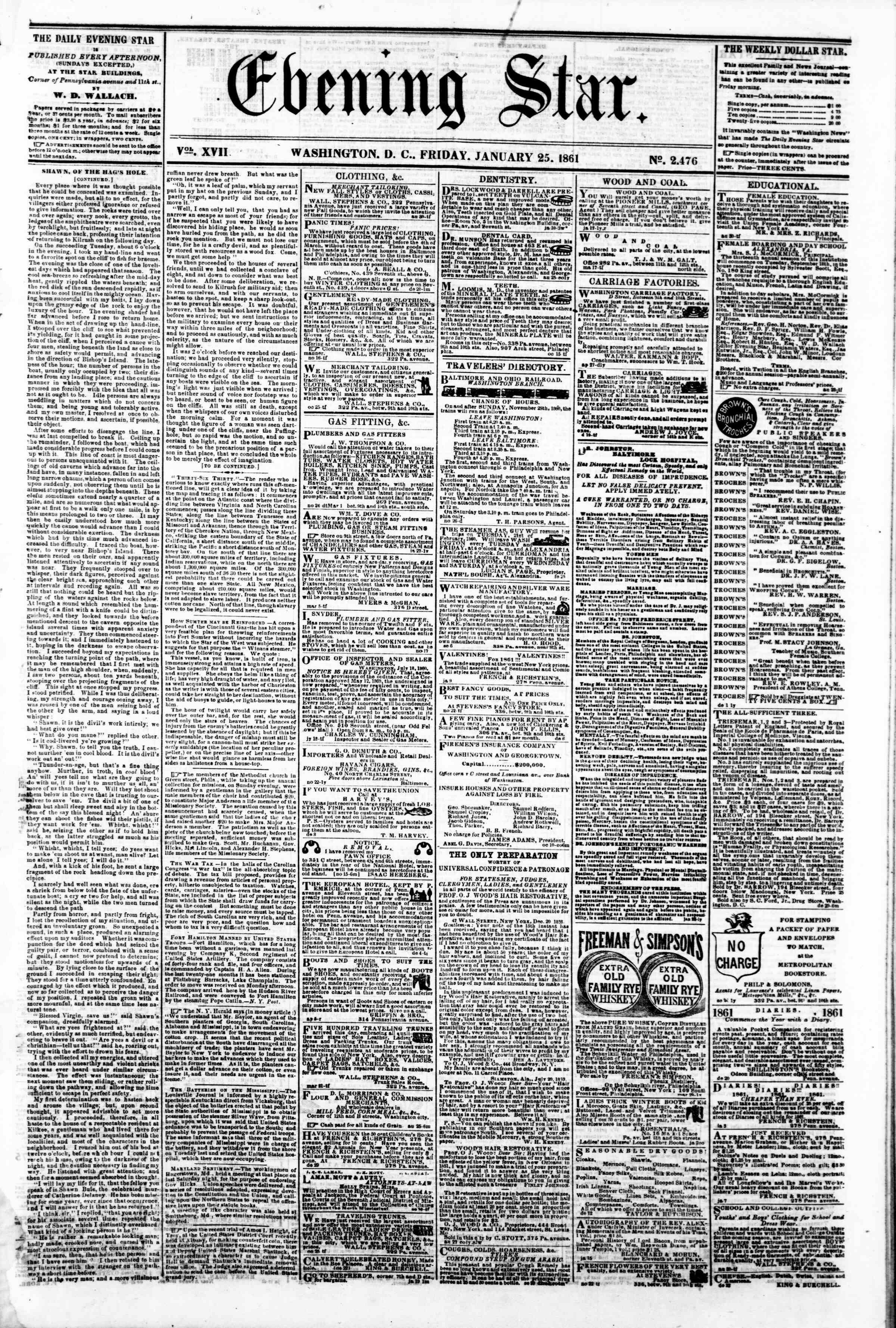 Newspaper of Evening Star dated January 25, 1861 Page 1