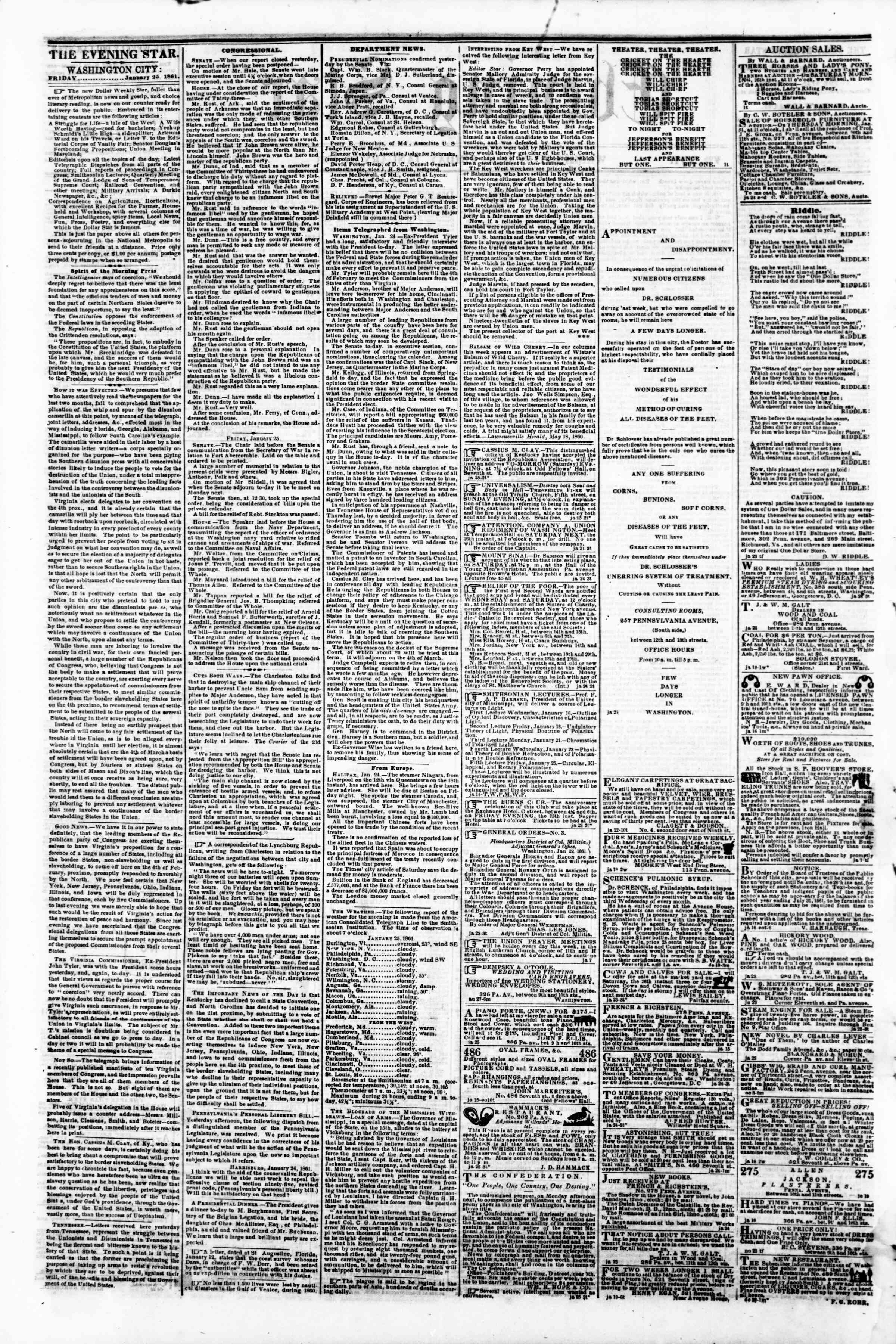 Newspaper of Evening Star dated January 25, 1861 Page 2
