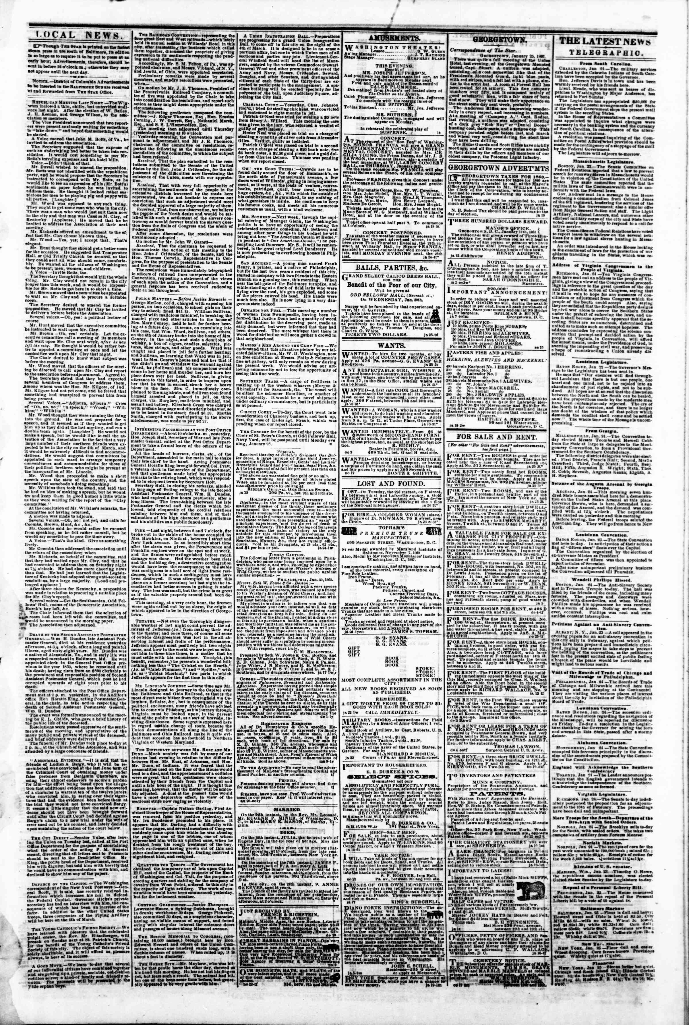 Newspaper of Evening Star dated January 25, 1861 Page 3