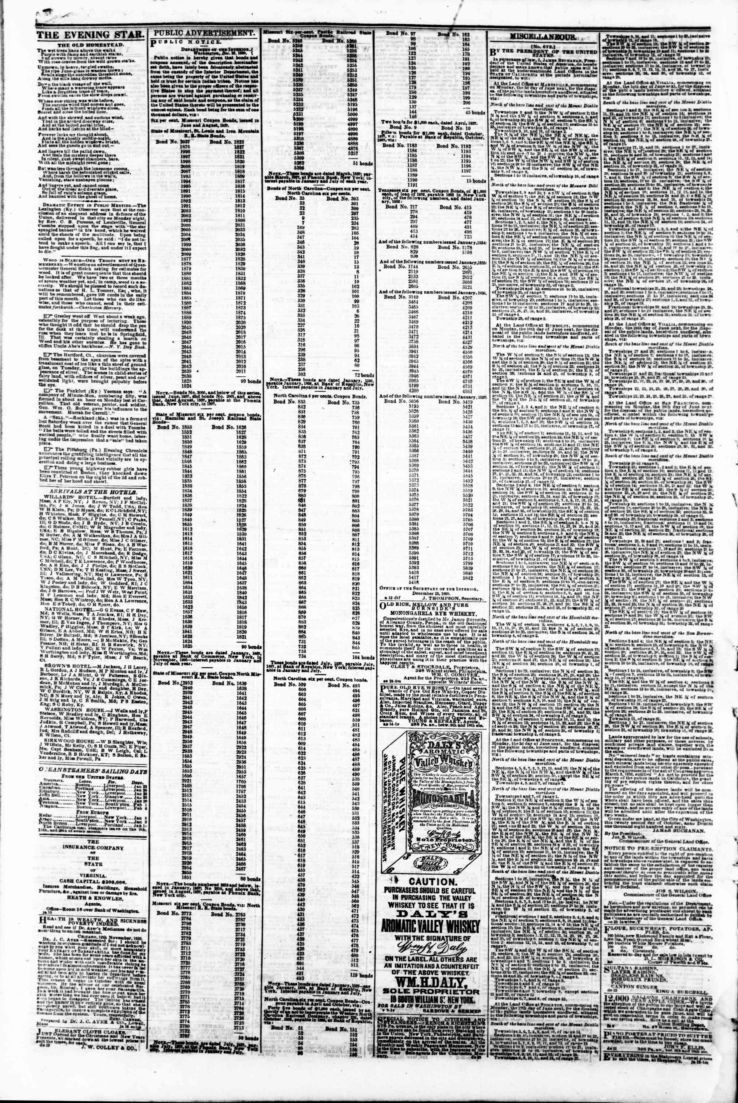 Newspaper of Evening Star dated January 25, 1861 Page 4