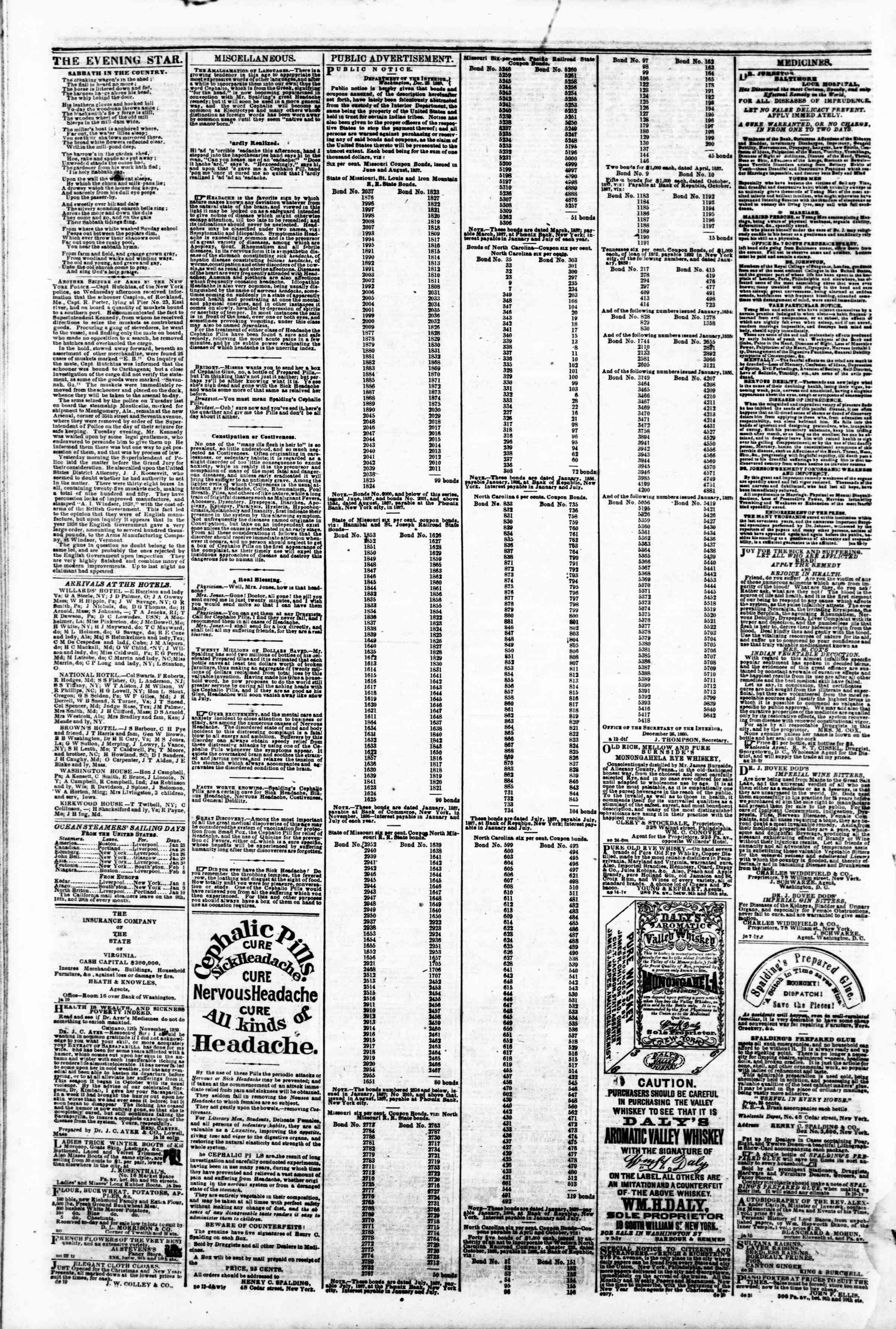 Newspaper of Evening Star dated January 26, 1861 Page 4