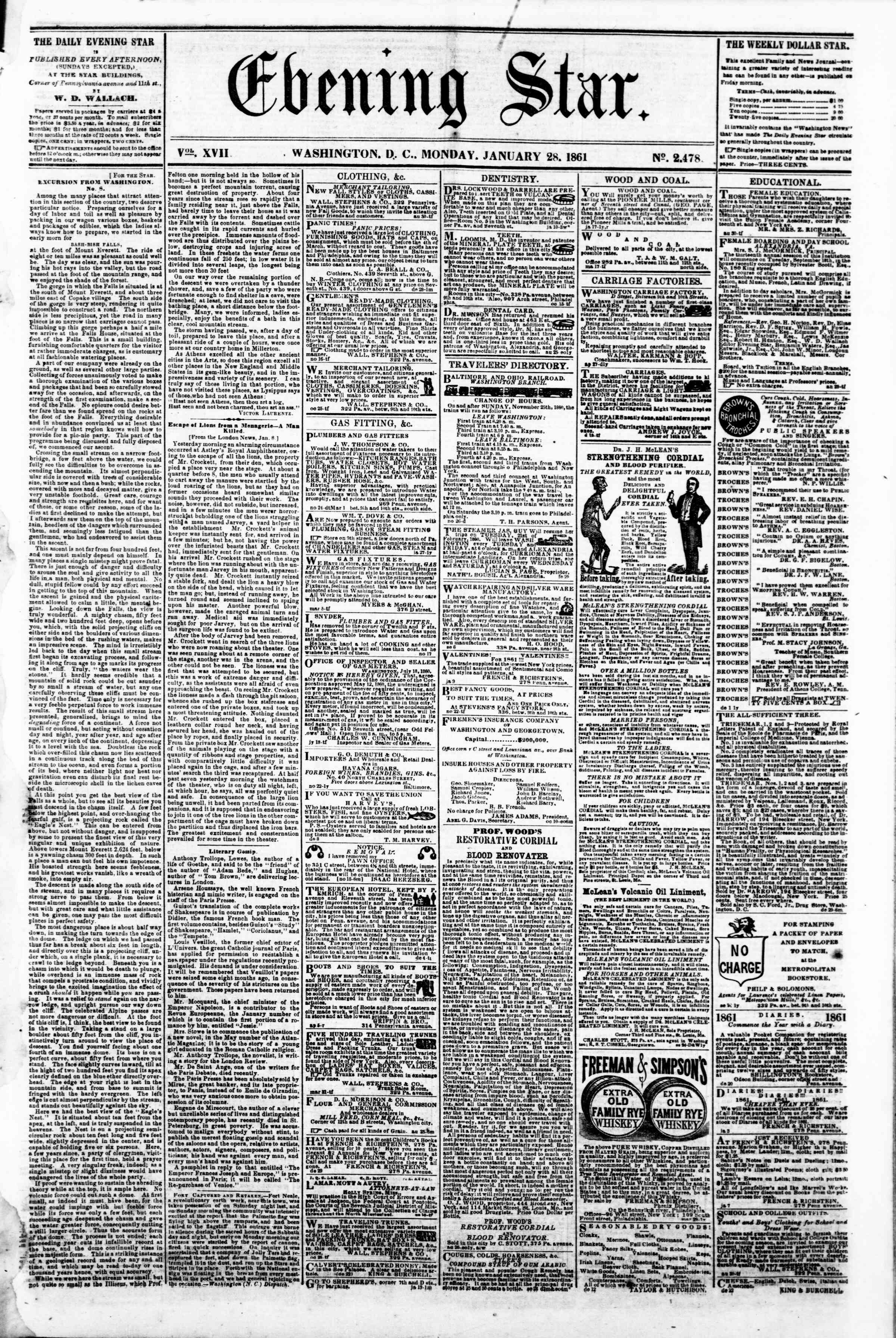 Newspaper of Evening Star dated January 28, 1861 Page 1