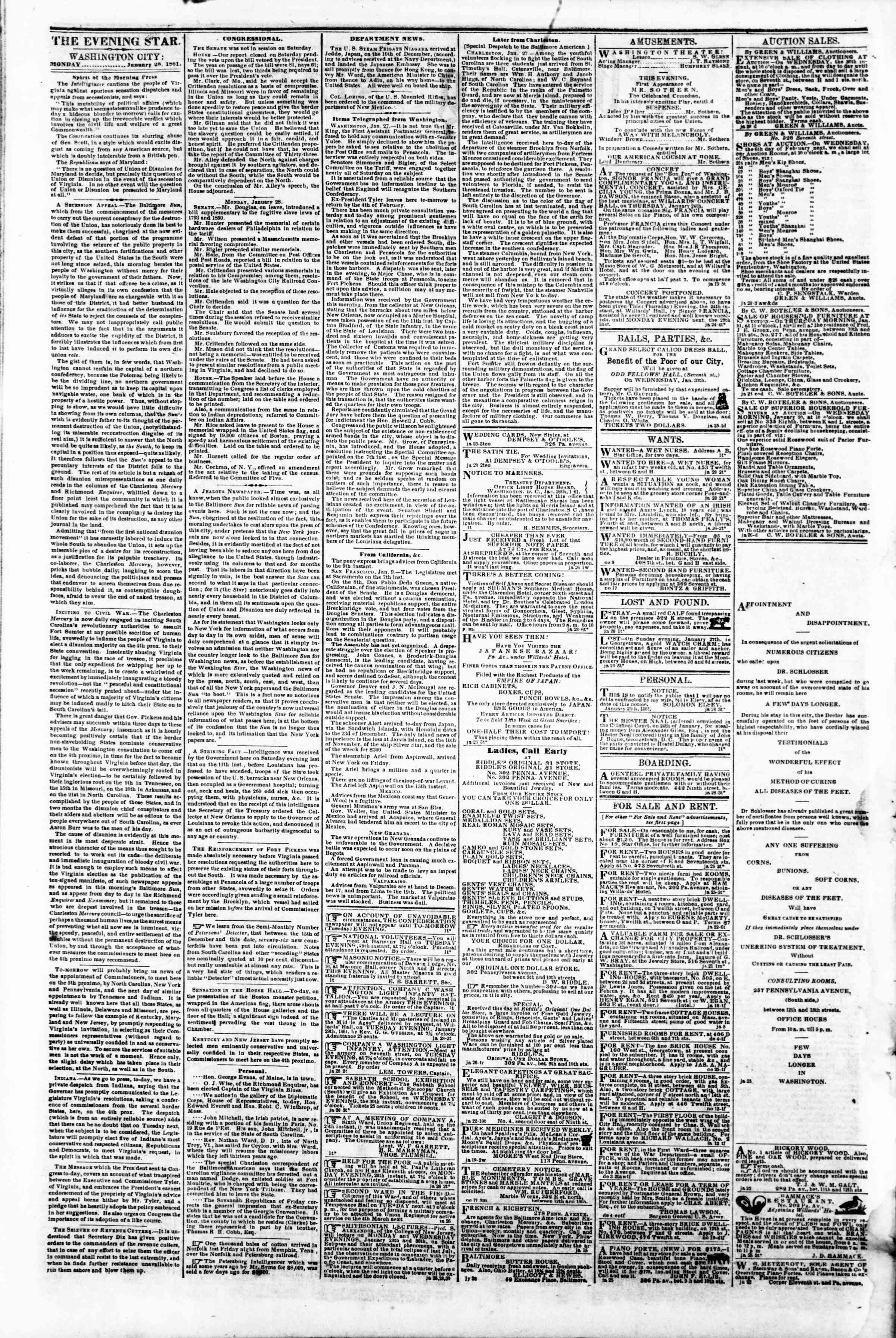 Newspaper of Evening Star dated January 28, 1861 Page 2