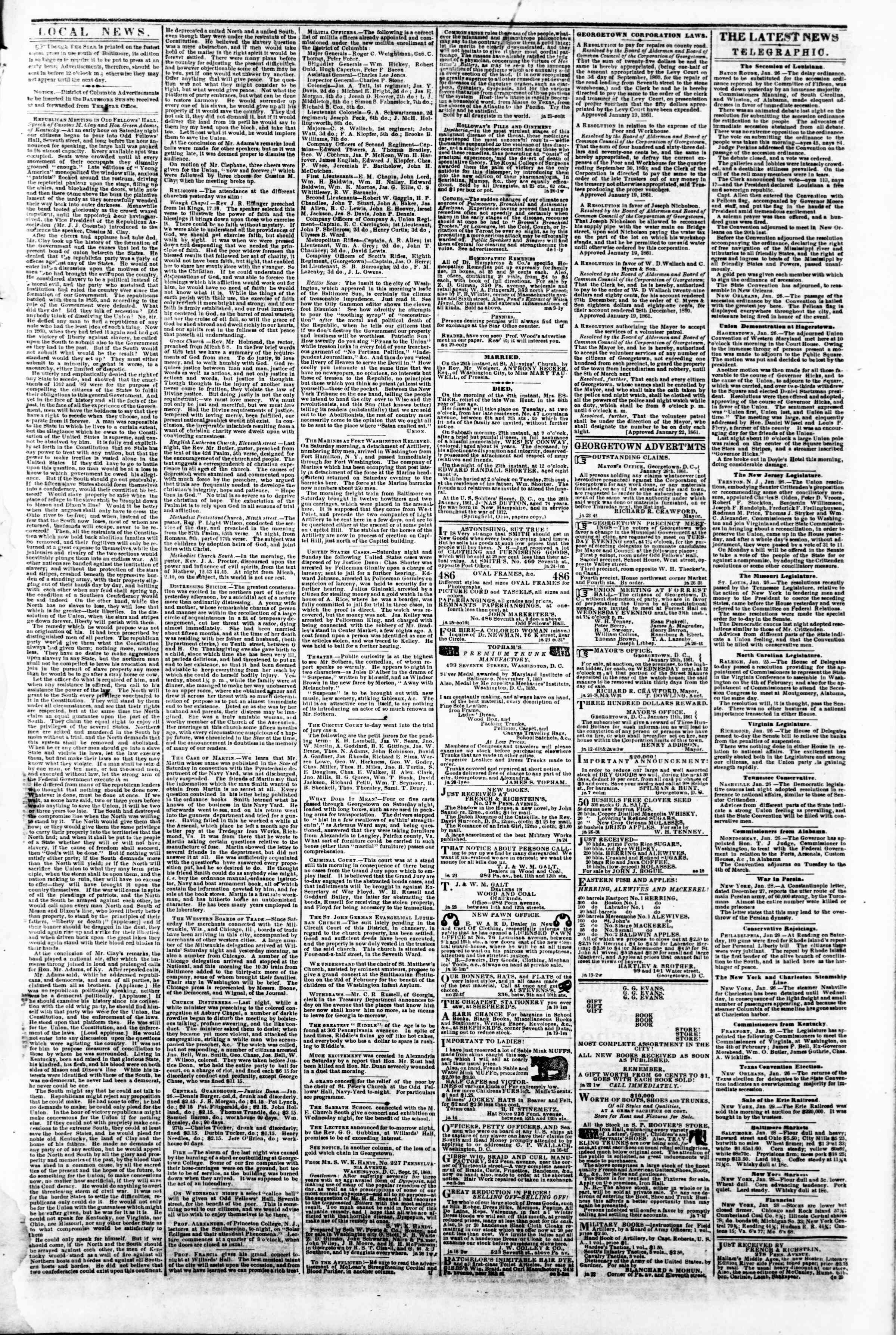 Newspaper of Evening Star dated January 28, 1861 Page 3