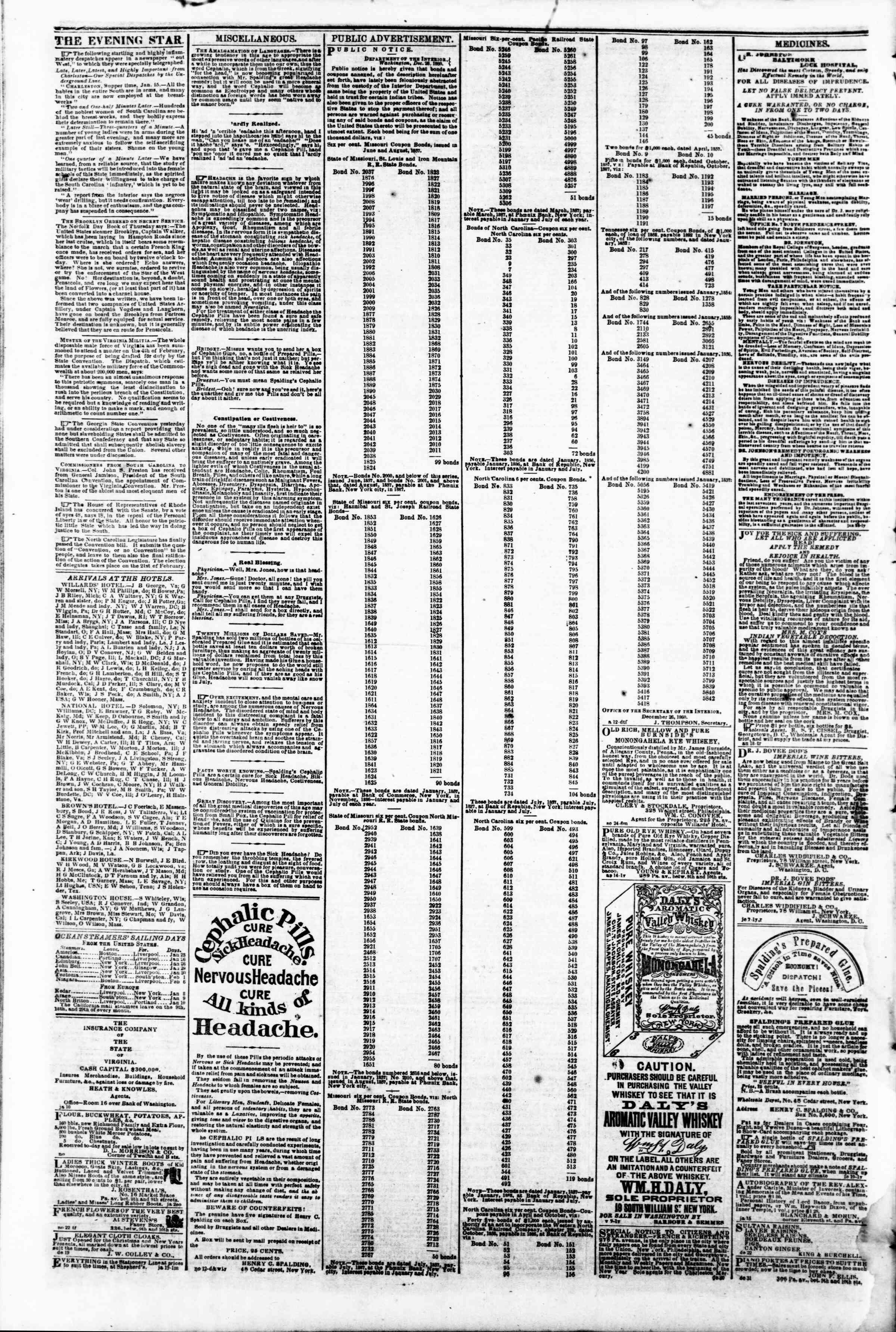 Newspaper of Evening Star dated January 28, 1861 Page 4