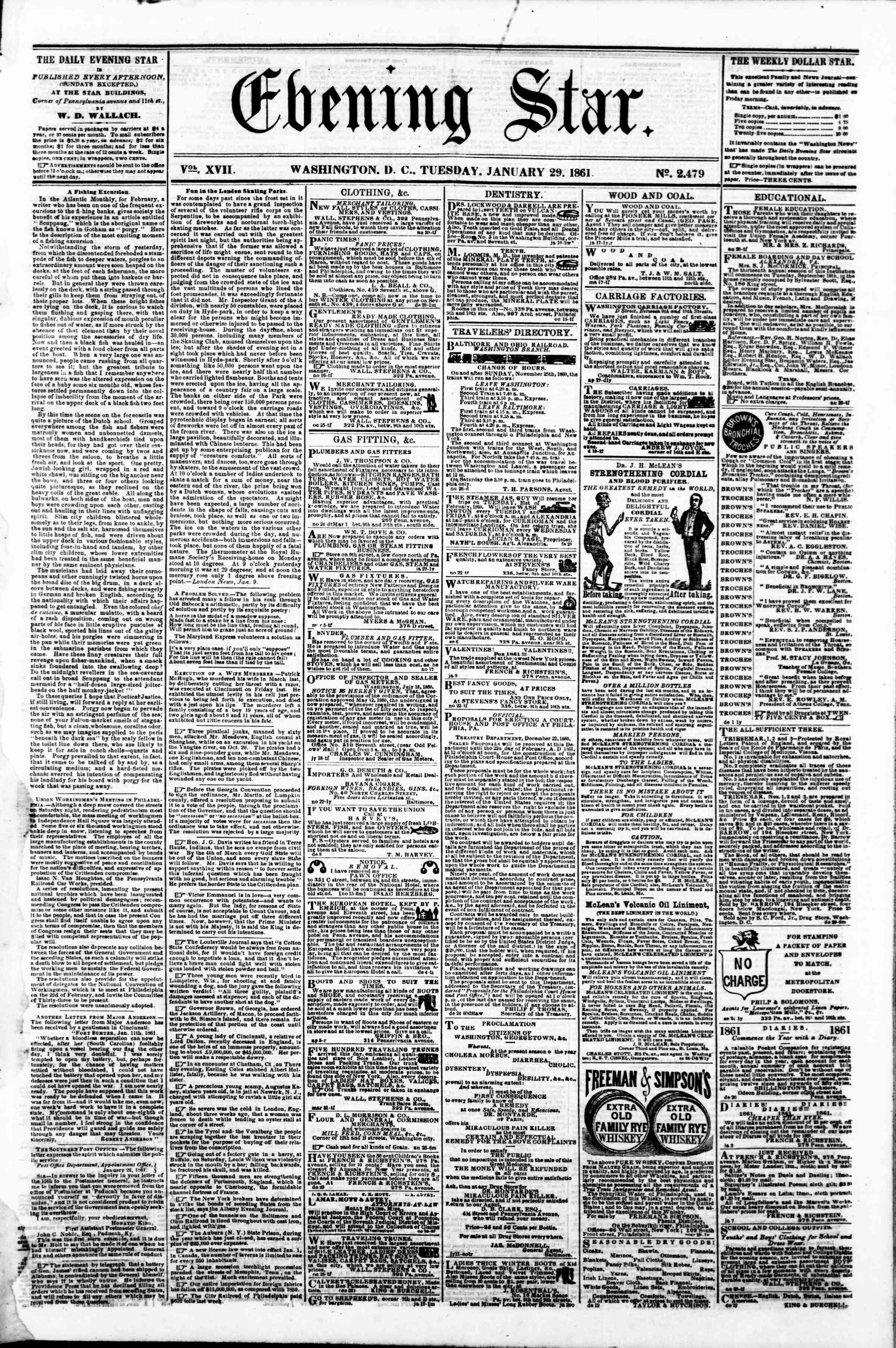 Newspaper of Evening Star dated January 29, 1861 Page 1
