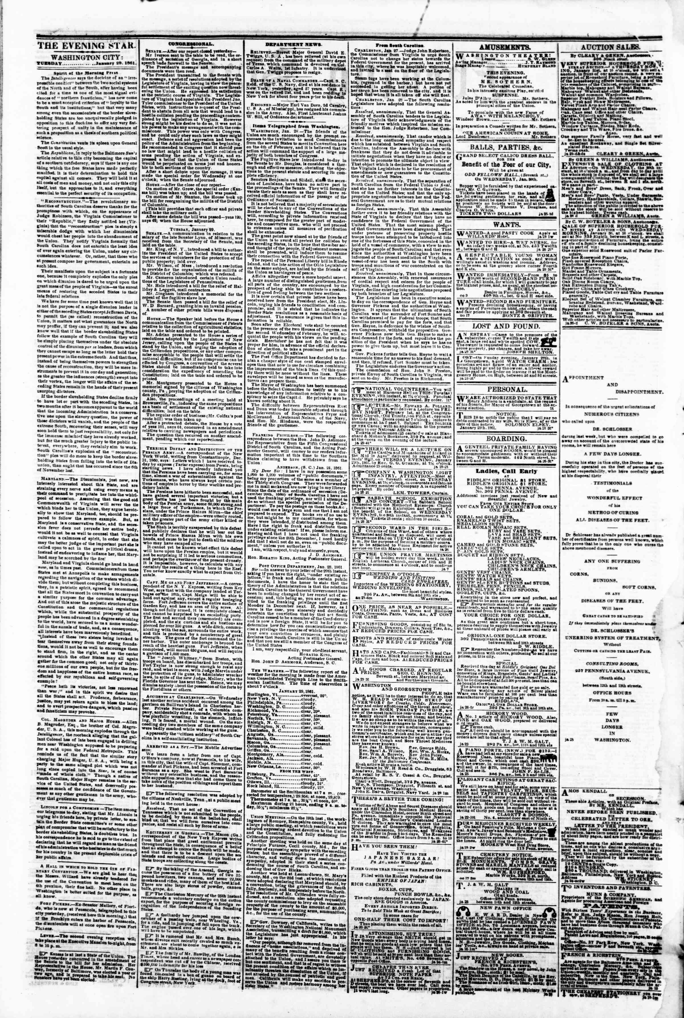 Newspaper of Evening Star dated January 29, 1861 Page 2