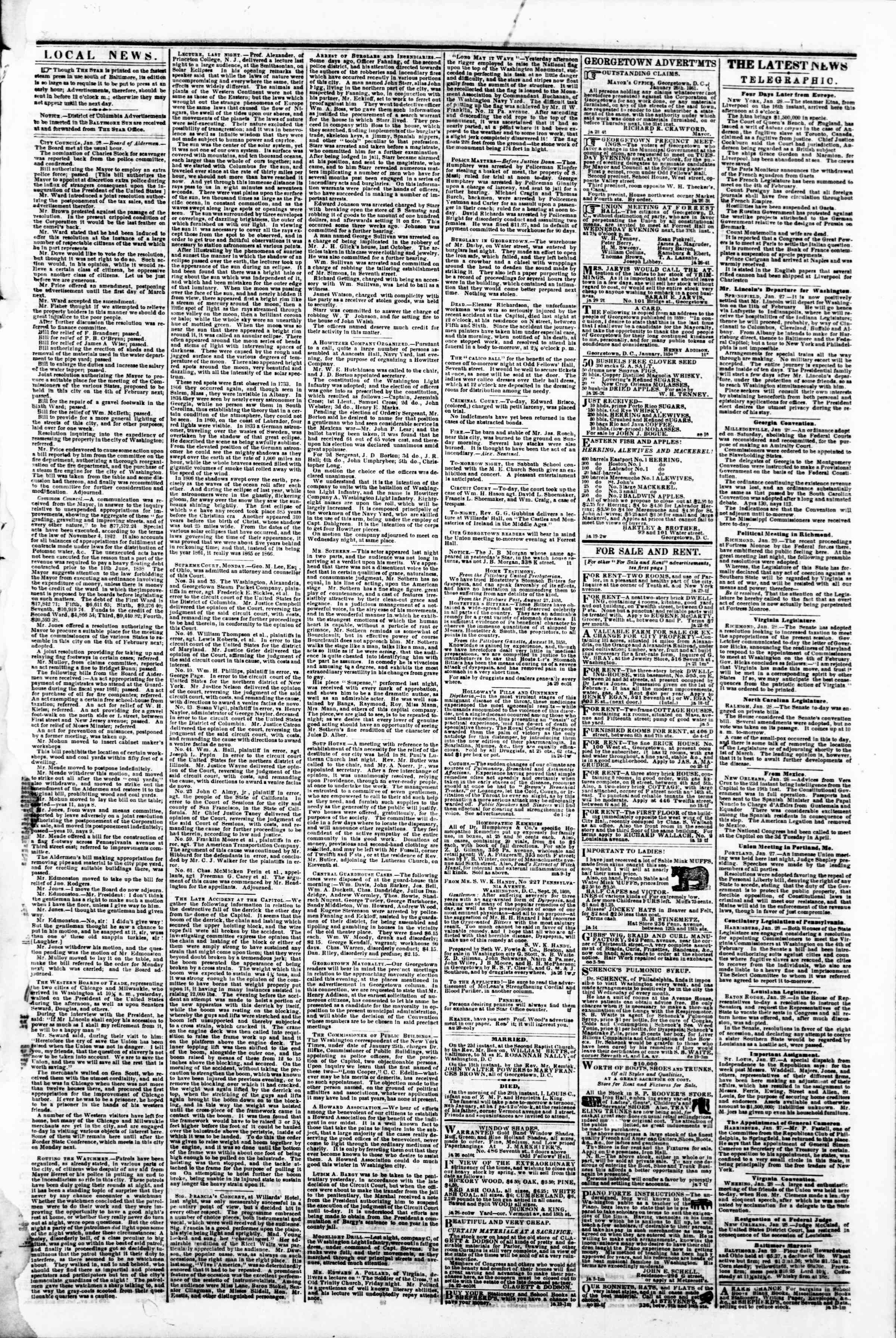 Newspaper of Evening Star dated January 29, 1861 Page 3