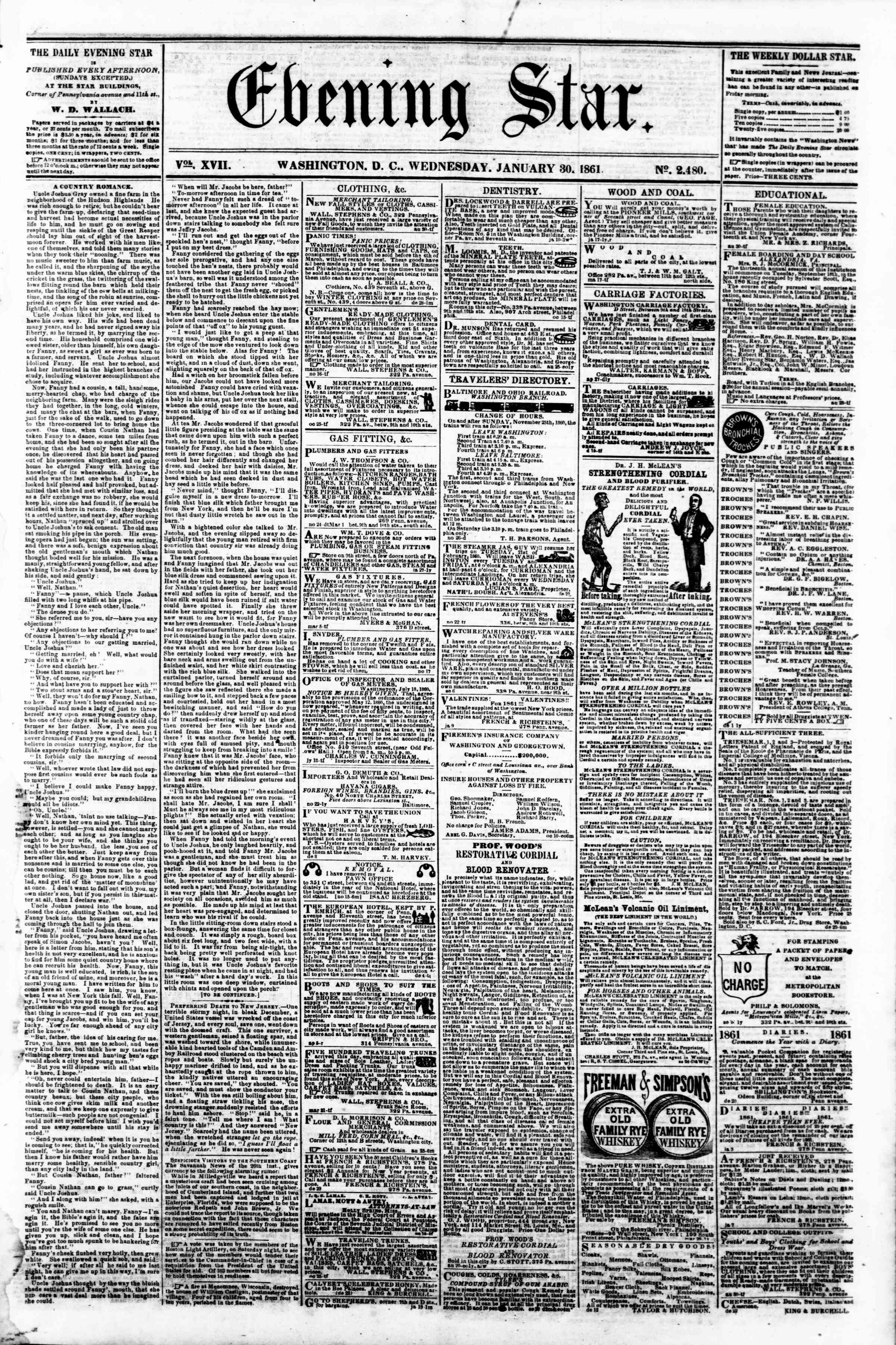 Newspaper of Evening Star dated January 30, 1861 Page 1