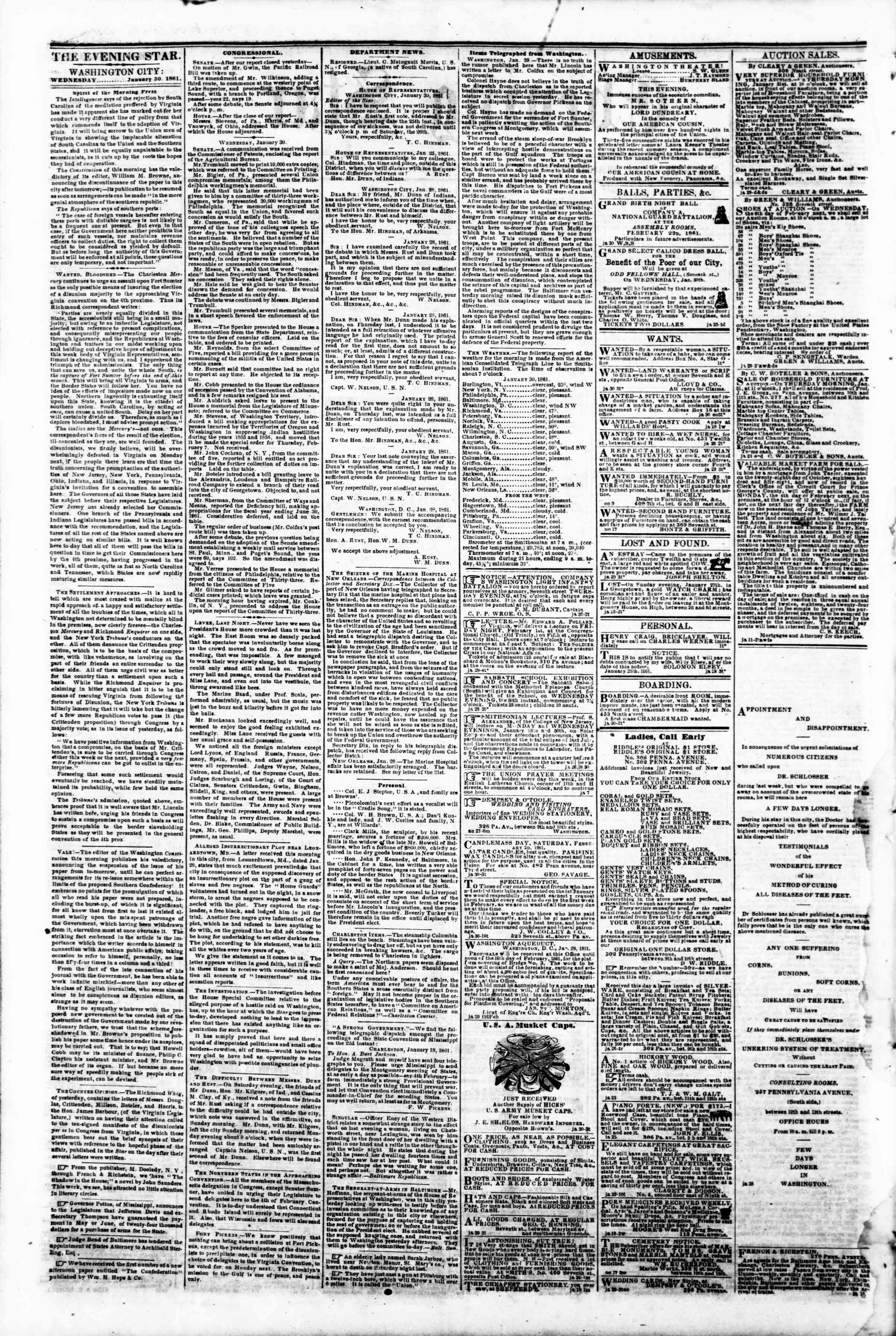 Newspaper of Evening Star dated January 30, 1861 Page 2