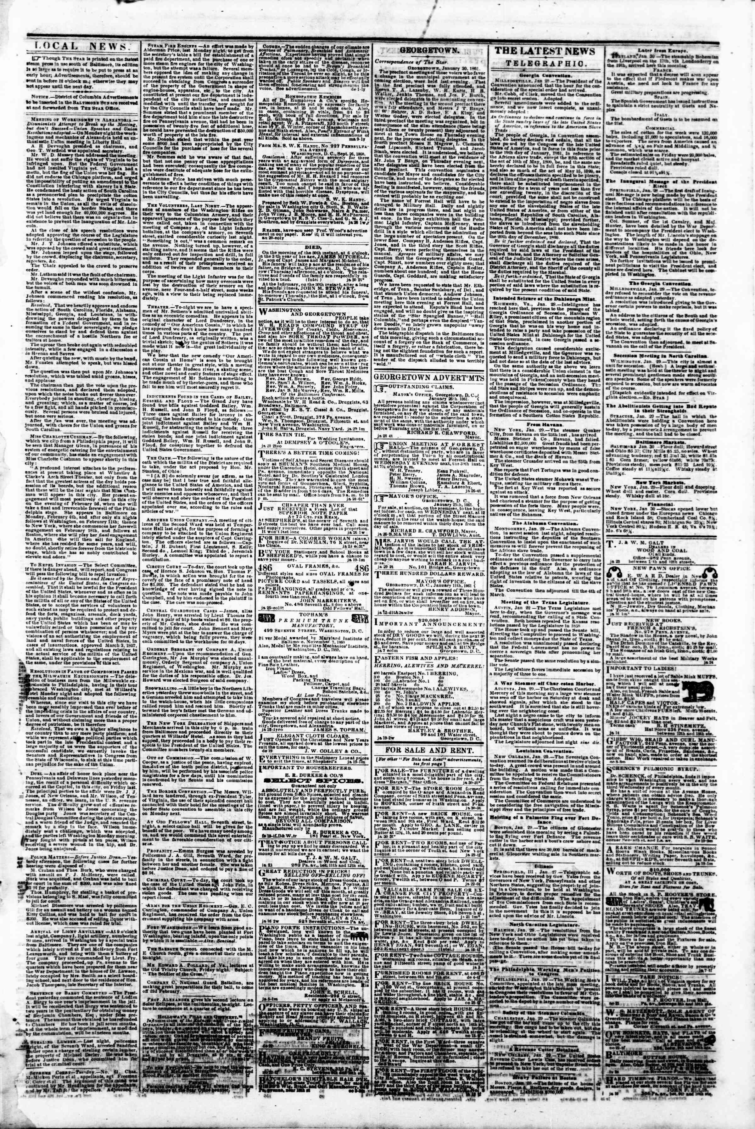 Newspaper of Evening Star dated January 30, 1861 Page 3