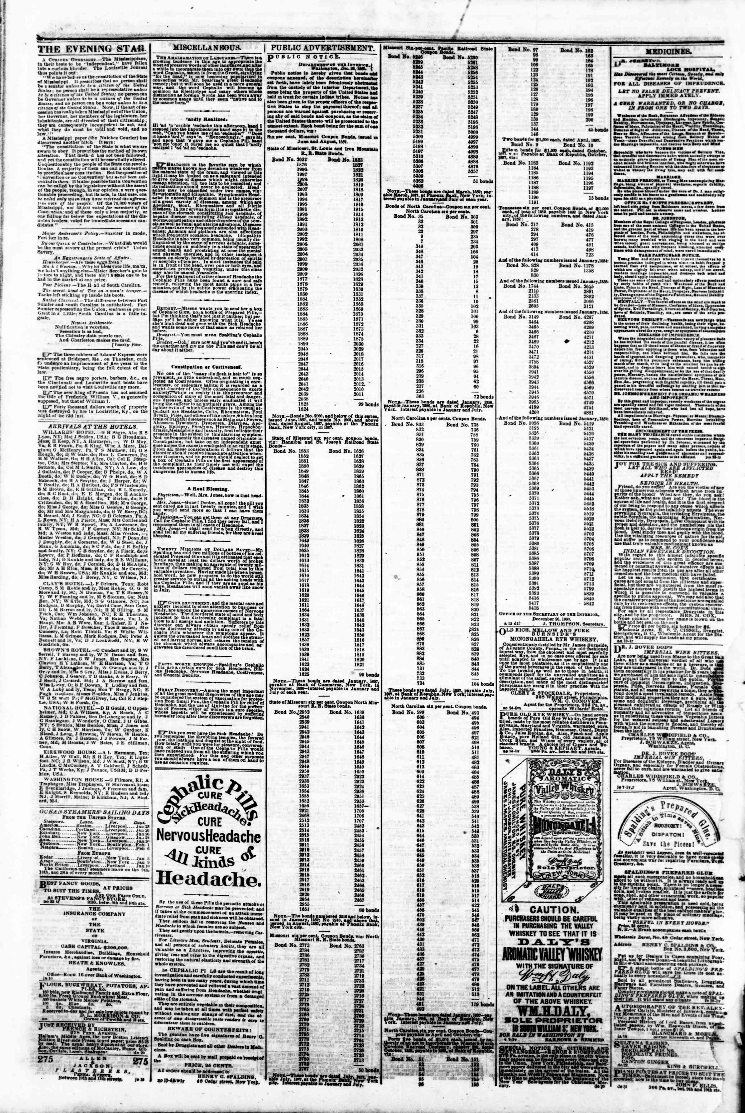 Newspaper of Evening Star dated January 30, 1861 Page 4
