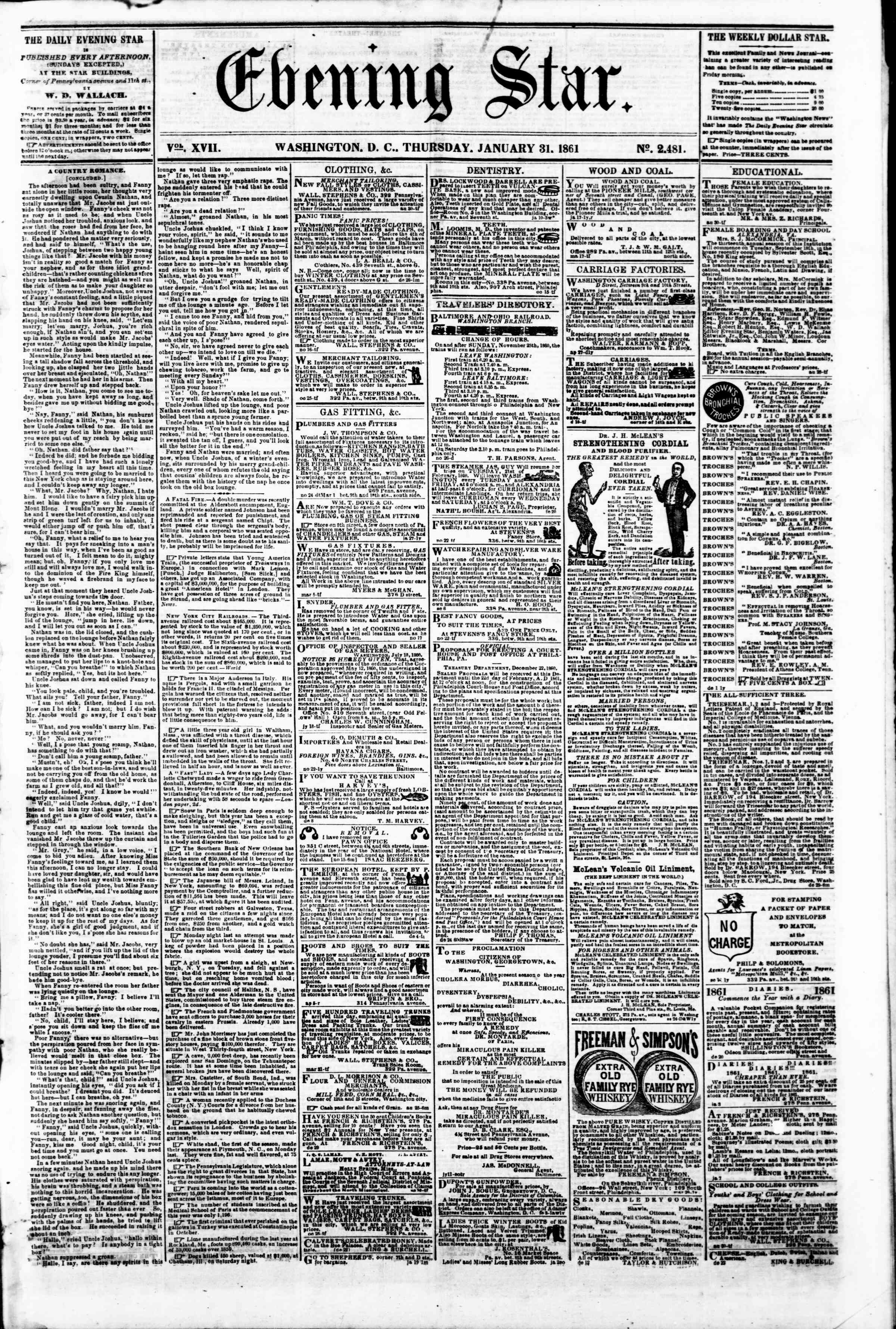 Newspaper of Evening Star dated January 31, 1861 Page 1