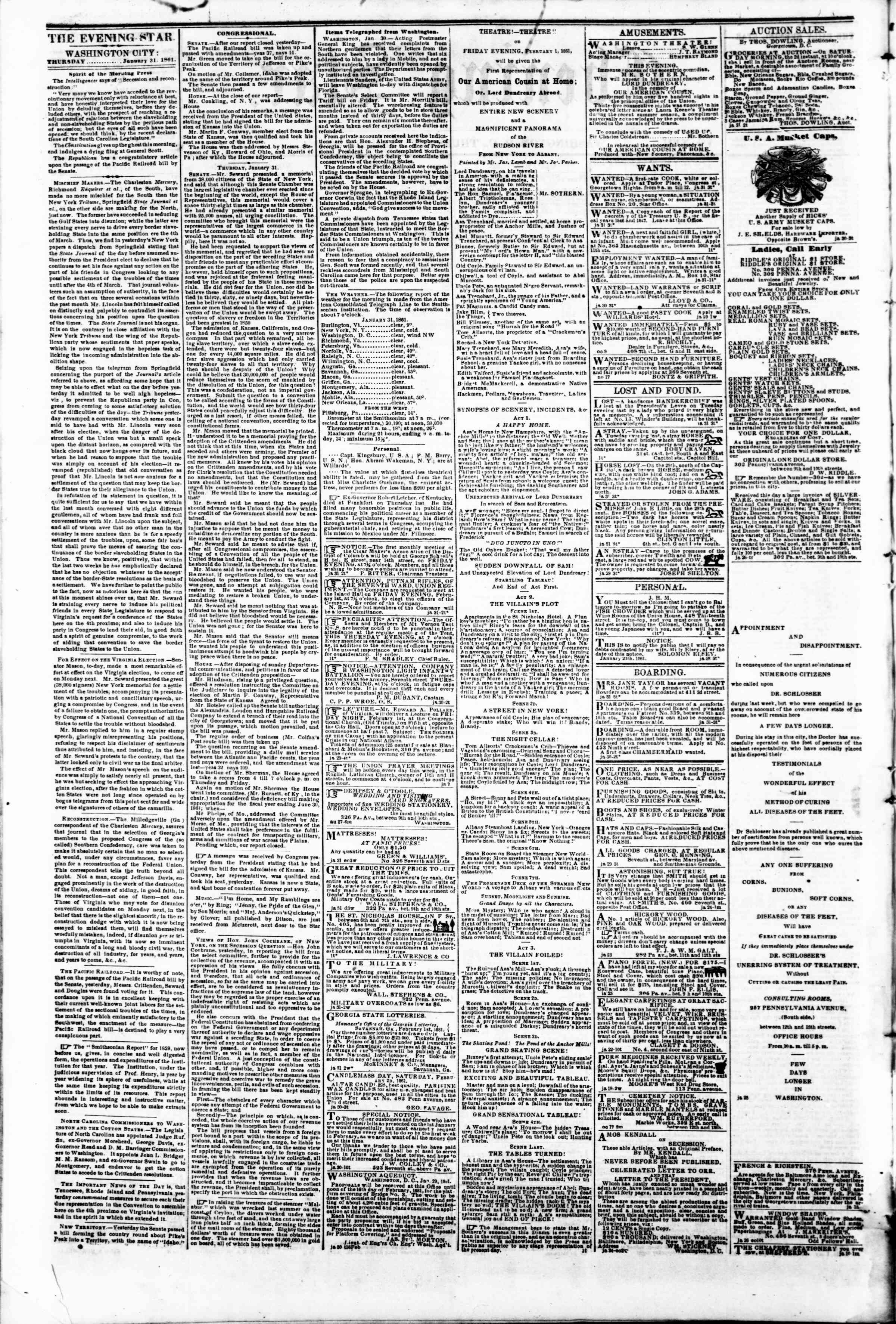 Newspaper of Evening Star dated January 31, 1861 Page 2