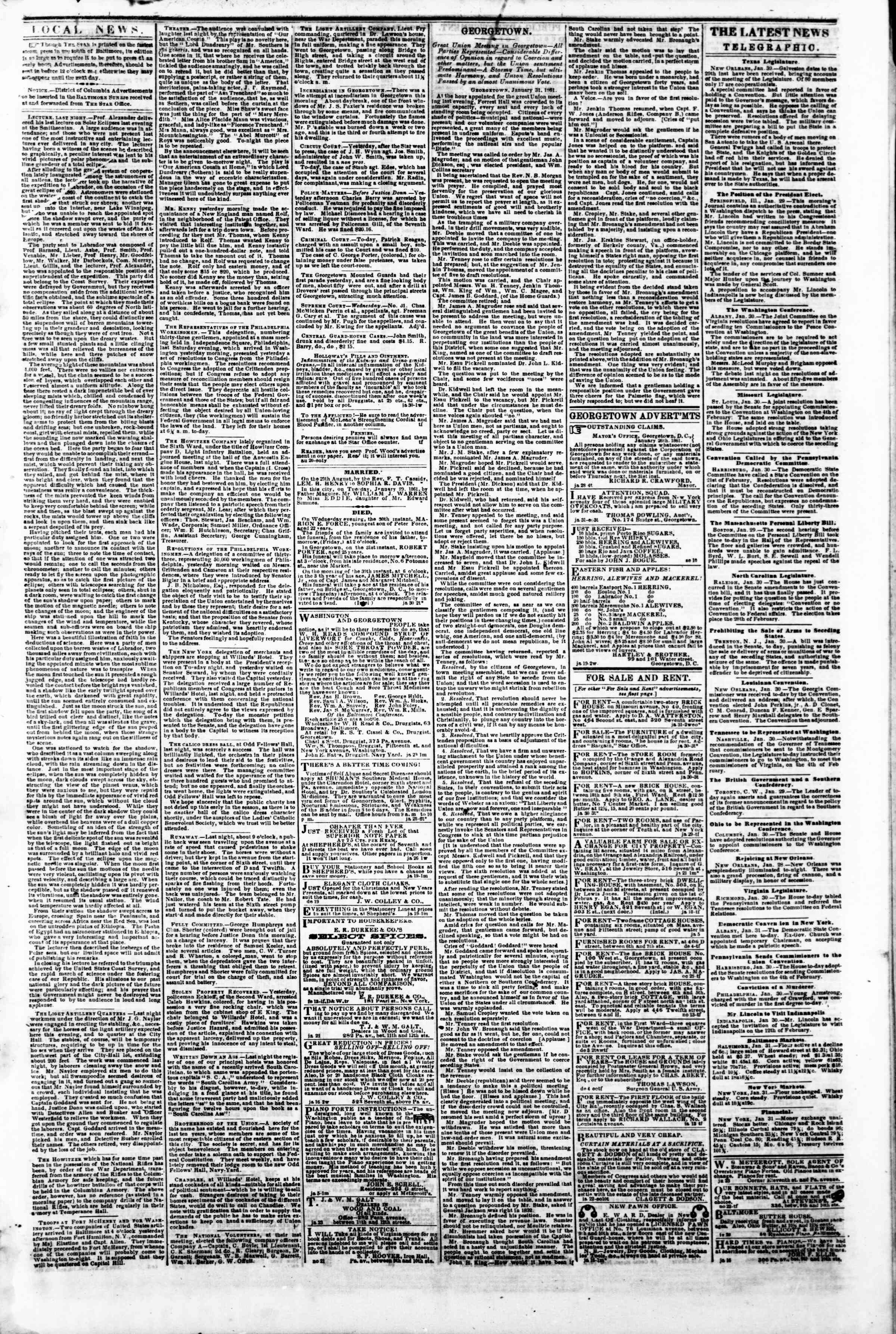 31 Ocak 1861 tarihli Evening Star Gazetesi Sayfa 3