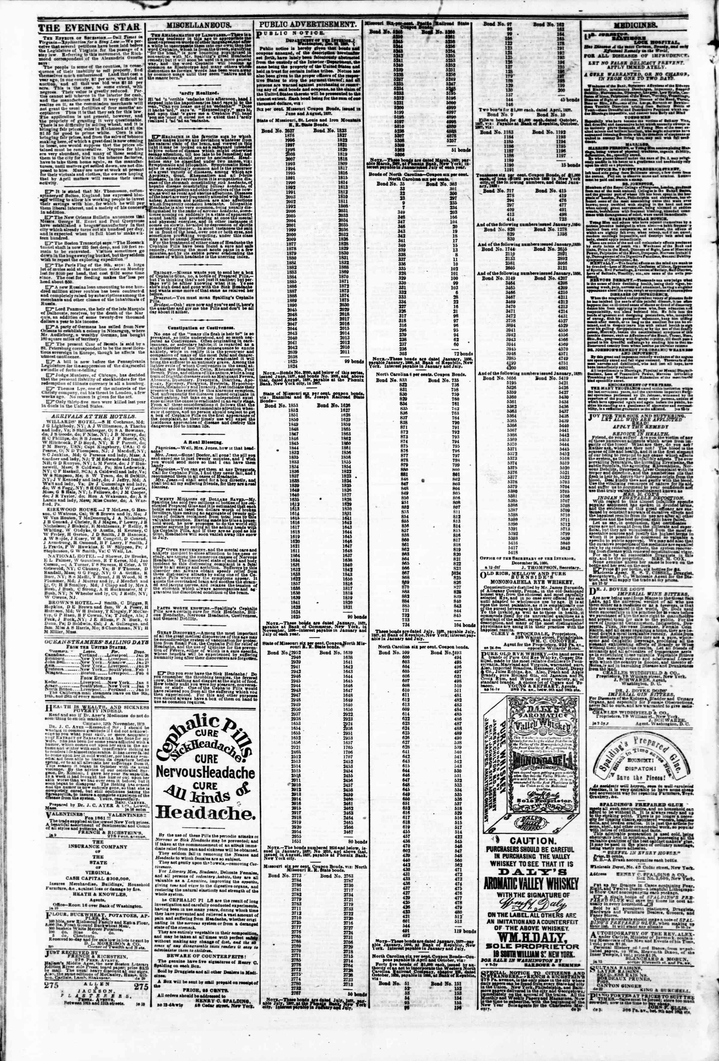 Newspaper of Evening Star dated January 31, 1861 Page 4